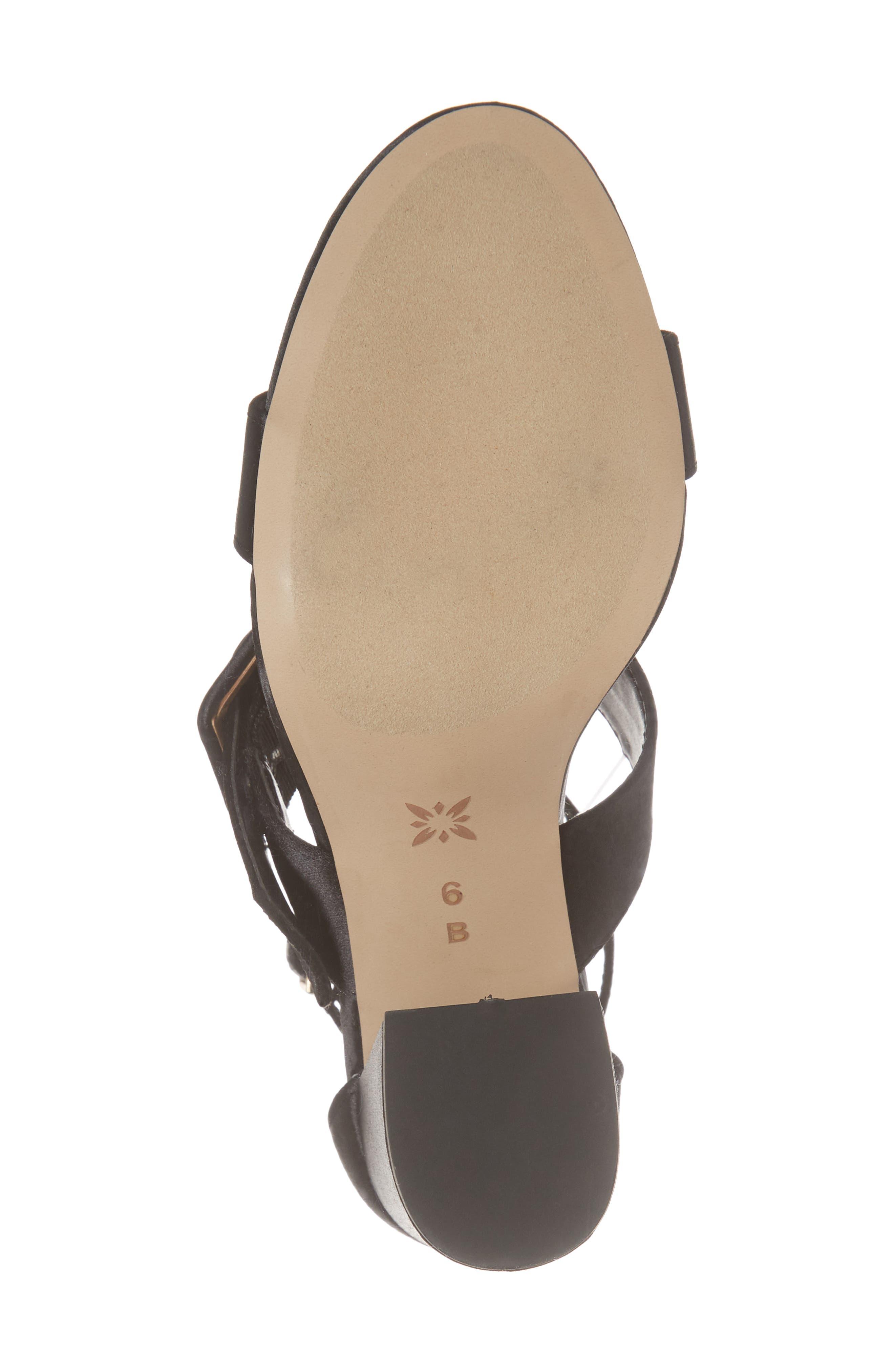 Raelynn Ankle Strap Sandal,                             Alternate thumbnail 6, color,                             BLACK SATIN