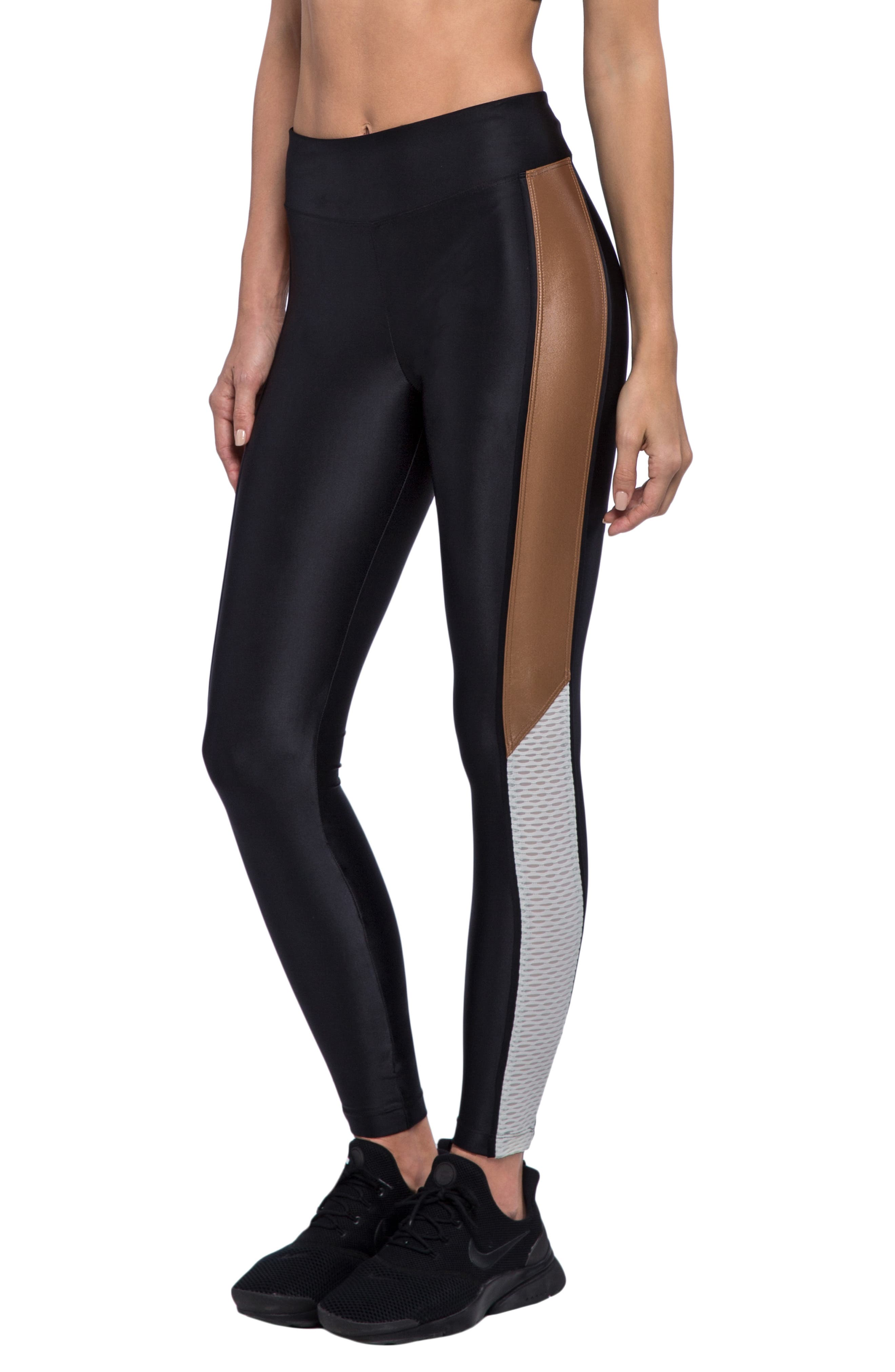 Serendipity Energy Leggings,                             Alternate thumbnail 3, color,                             BLACK/ TOFFEE/ EGRET