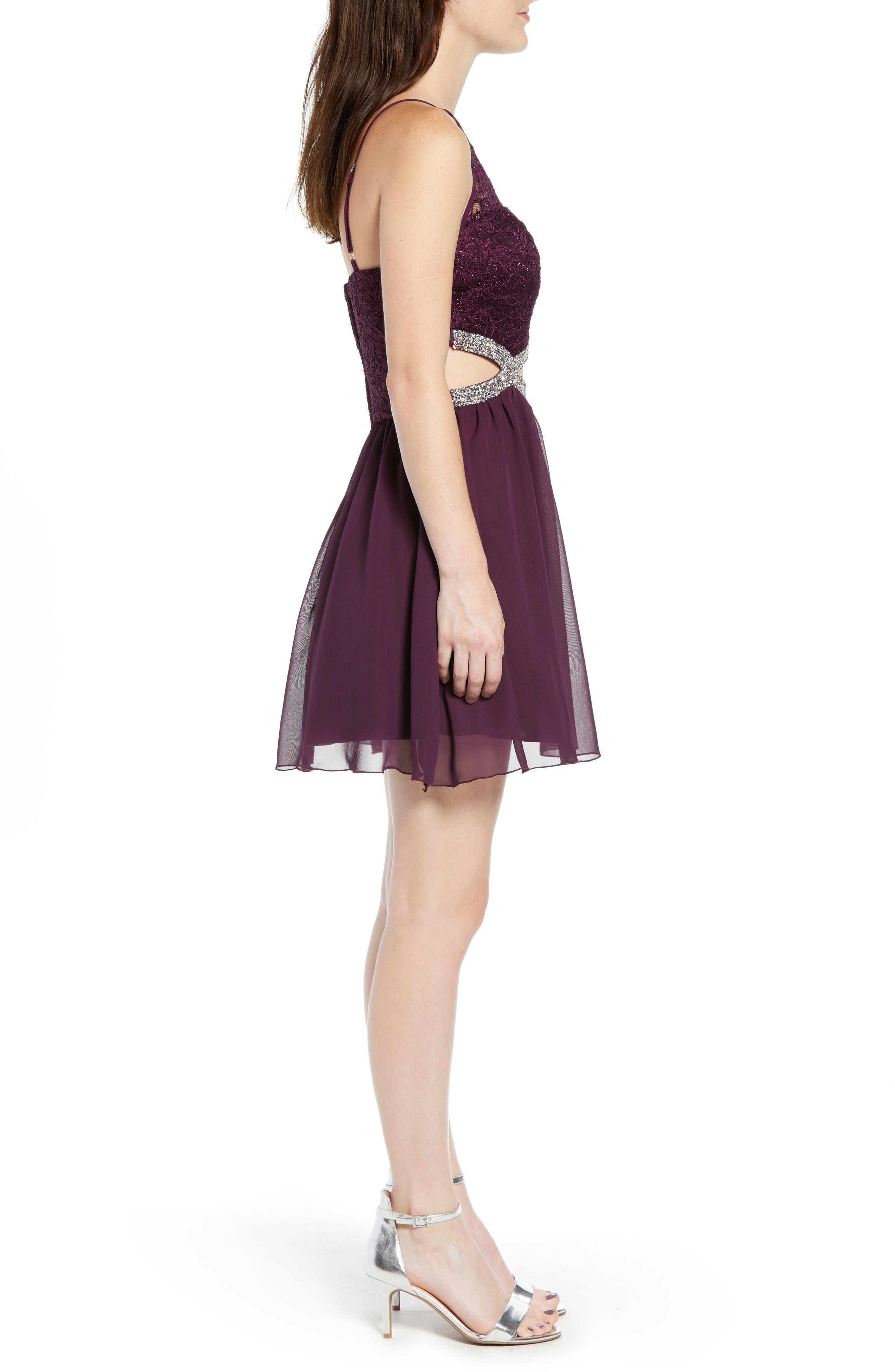 Lace Halter Dress,                             Alternate thumbnail 3, color,                             BERRY WINE