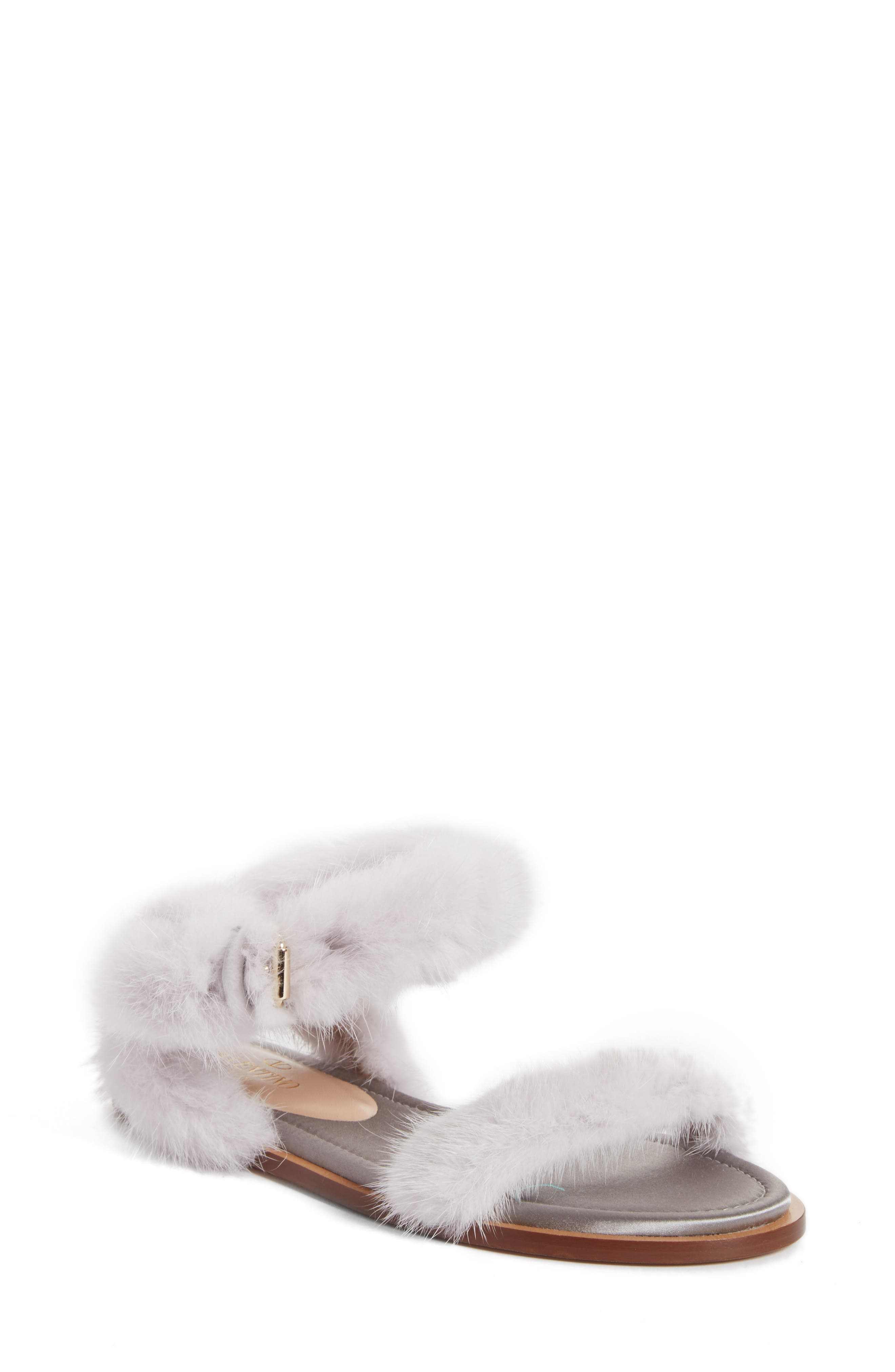 Genuine Mink Fur Sandal,                             Main thumbnail 1, color,                             030