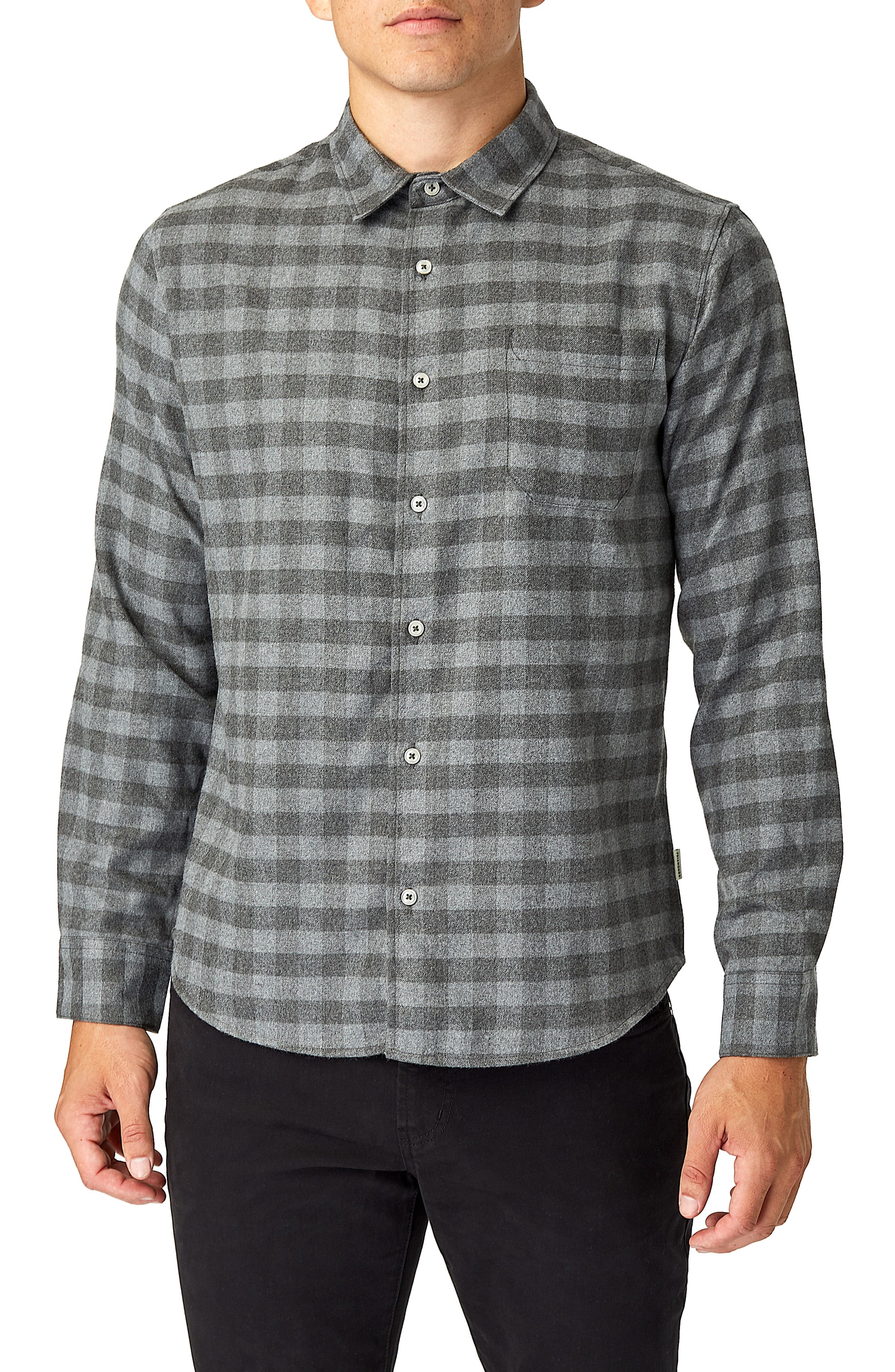 Asher Trim Fit Flannel Shirt,                         Main,                         color, GREY
