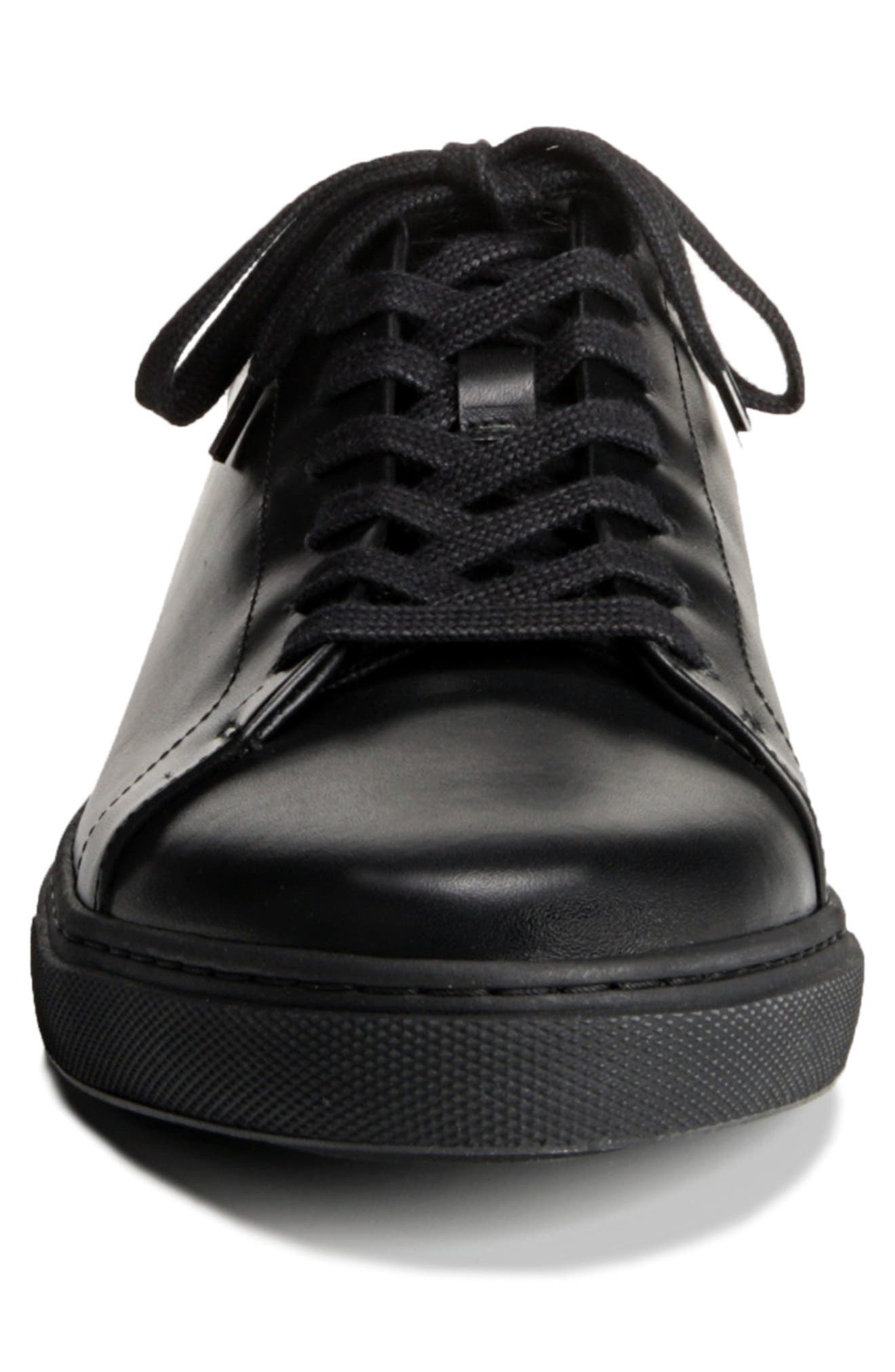 Canal Court Sneaker,                             Alternate thumbnail 4, color,                             BLACK LEATHER