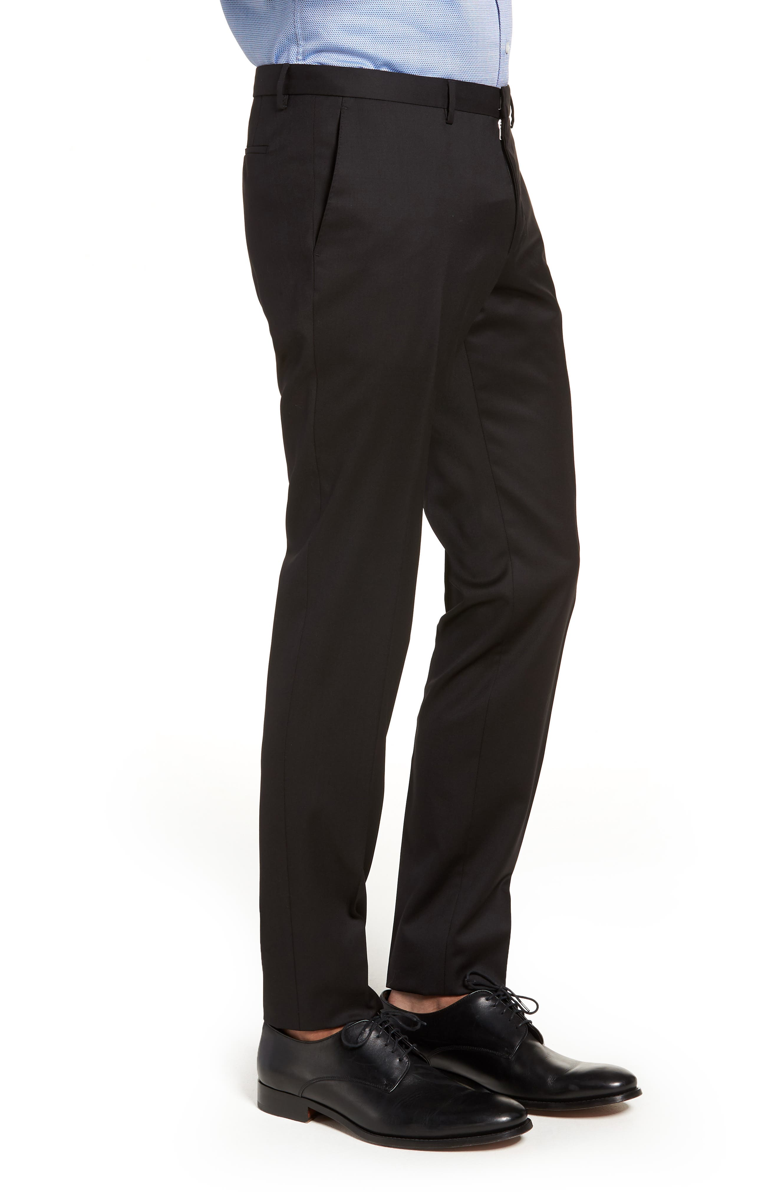 Wave CYL Flat Front Solid Wool Trousers,                             Alternate thumbnail 3, color,                             BLACK