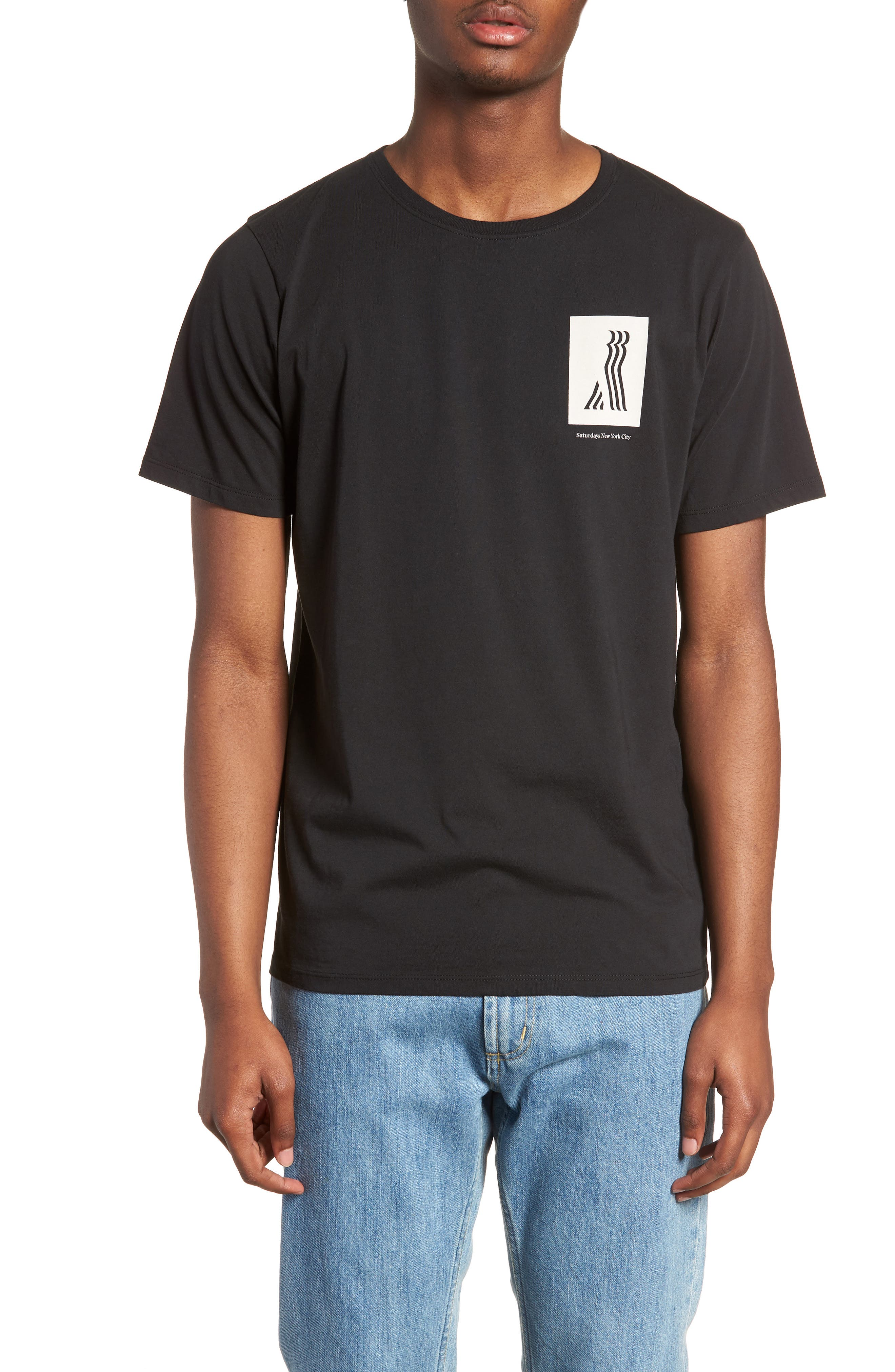 Walking Man T-Shirt,                         Main,                         color, BLACK