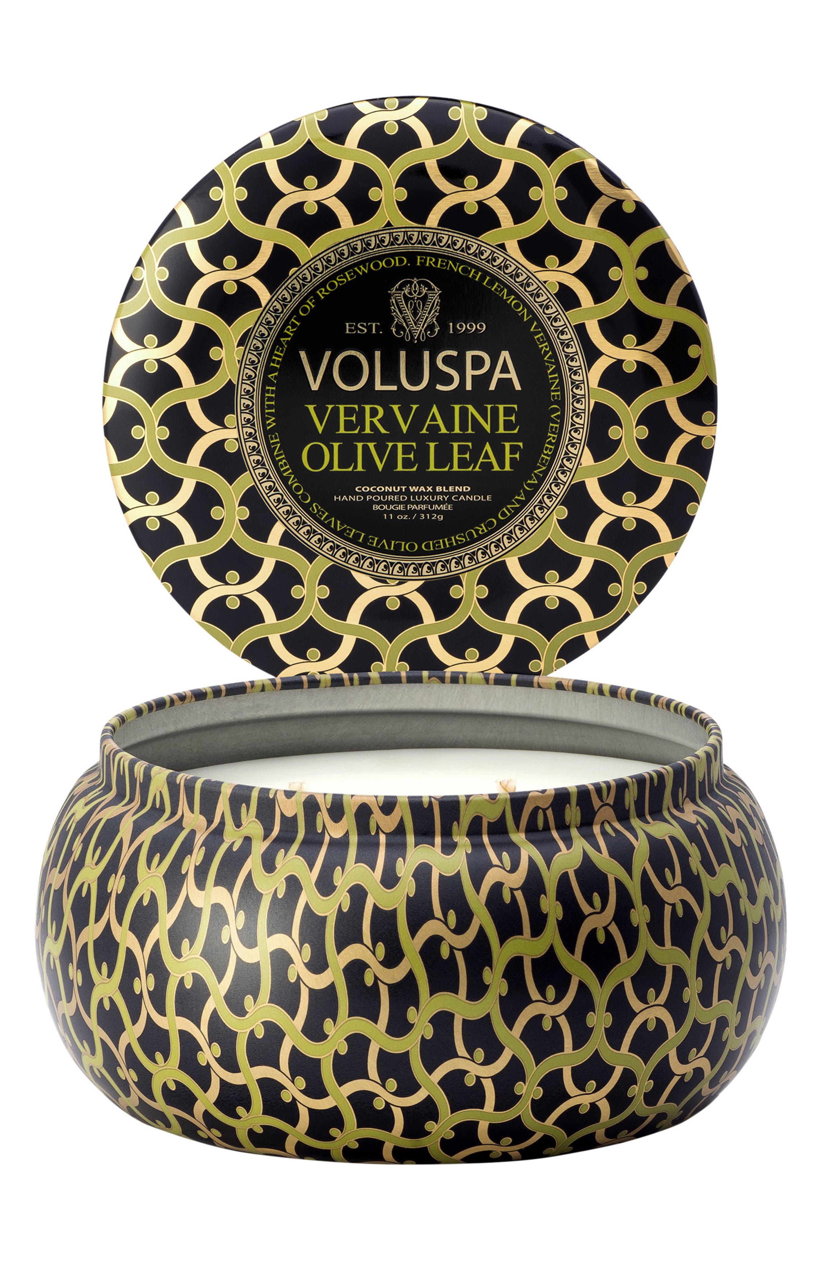 VOLUSPA,                             Maison Noir Vervaine Olive Leaf Maison Metallo Two-Wick Candle,                             Alternate thumbnail 3, color,                             NO COLOR