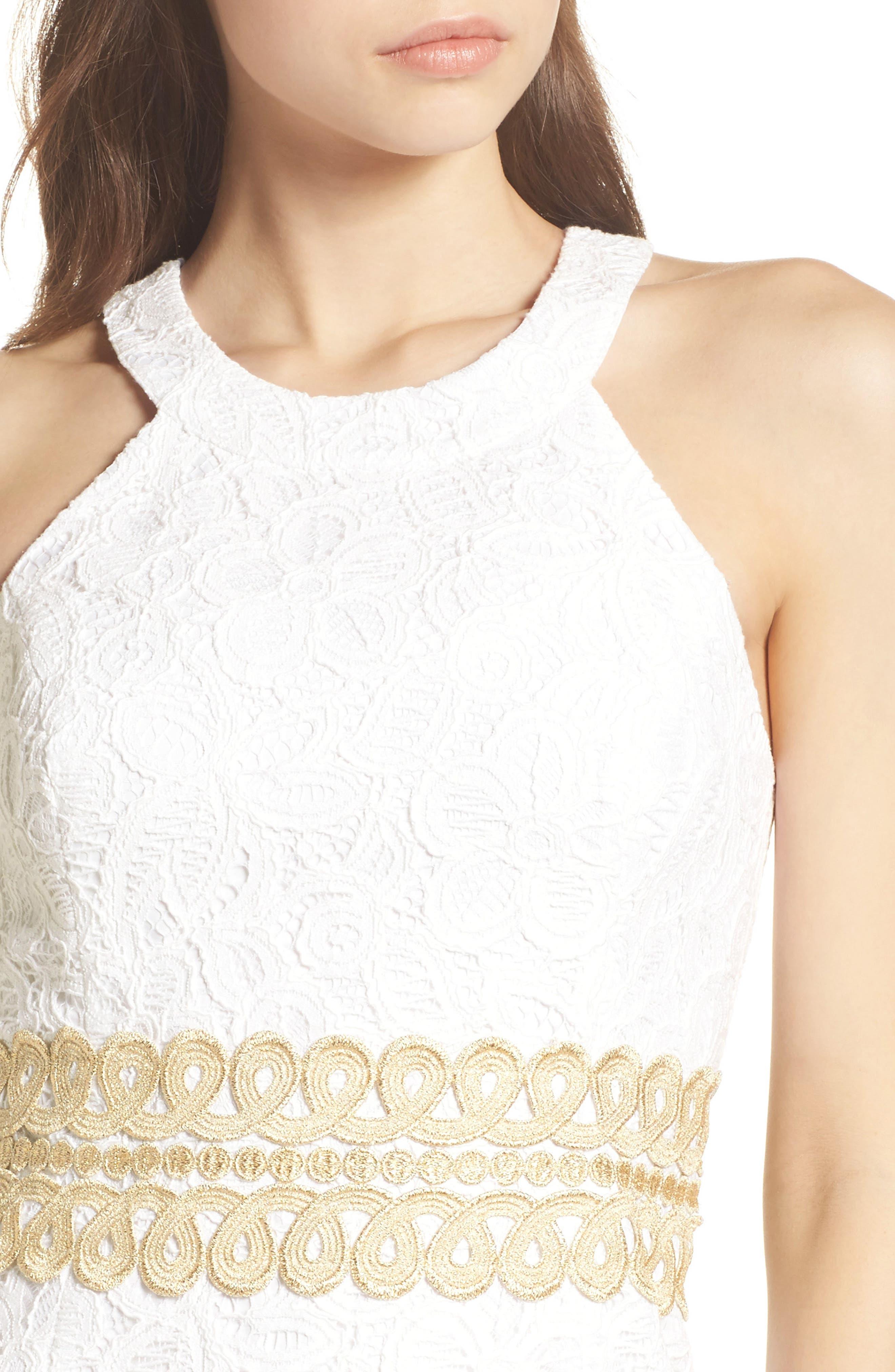 Ashlyn Lace Dress,                             Alternate thumbnail 4, color,                             RESORT WHITE POP FLORAL LACE