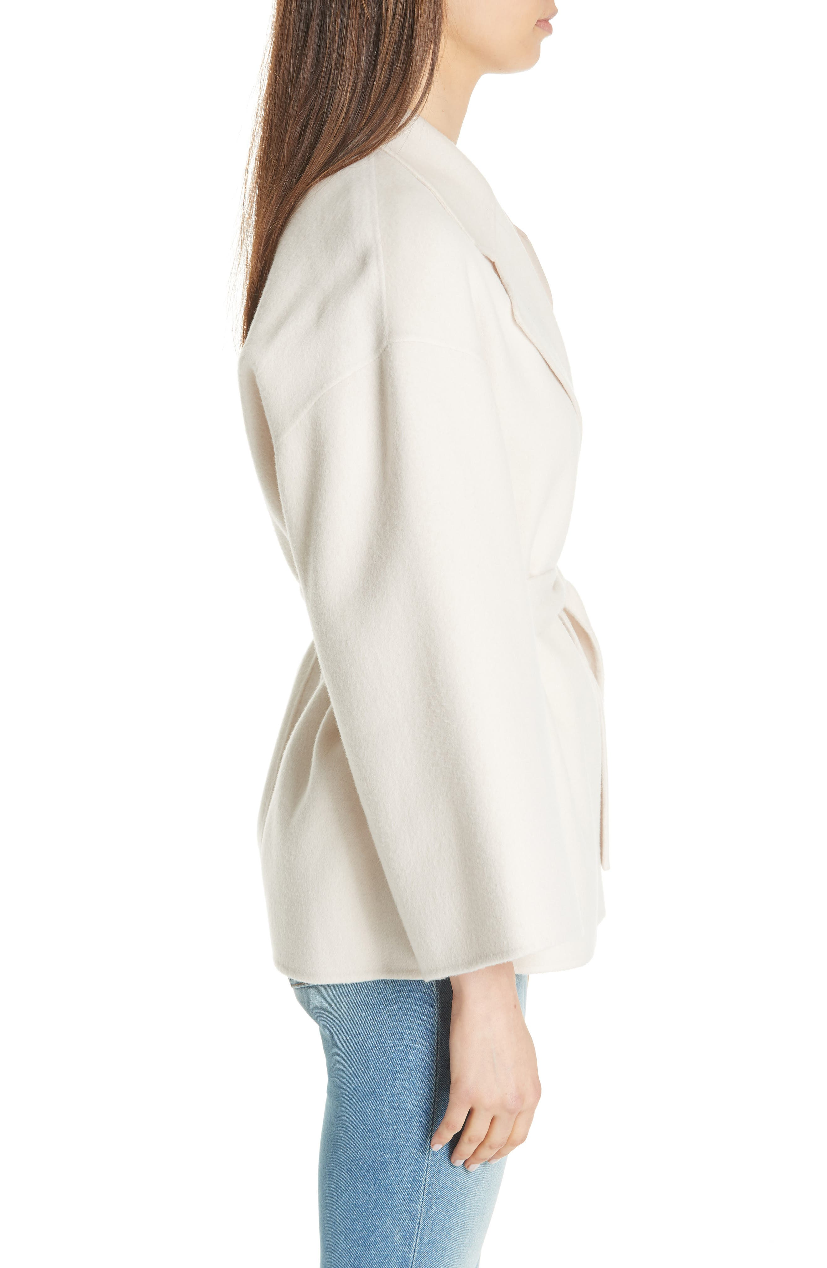Wool & Cashmere Belted Jacket,                             Alternate thumbnail 3, color,                             BUTTERCREAM