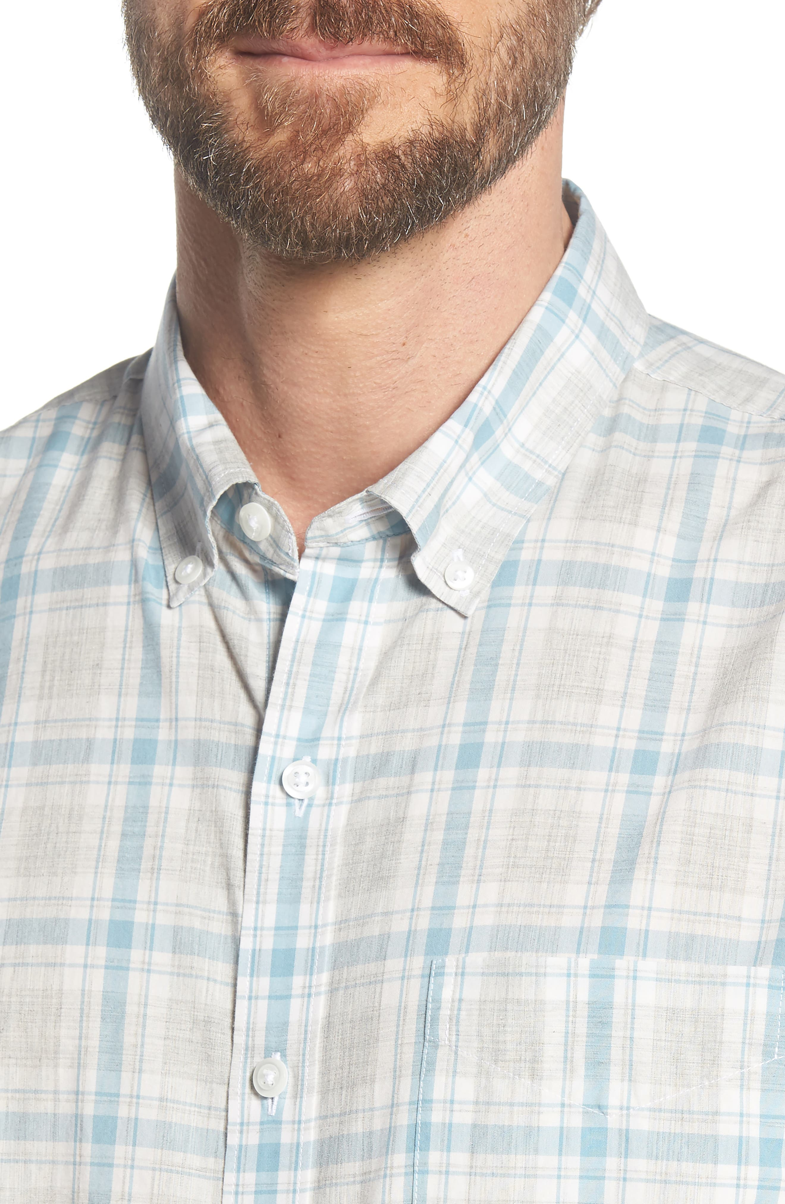 Summerweight Slim Fit Plaid Sport Shirt,                             Alternate thumbnail 4, color,                             020