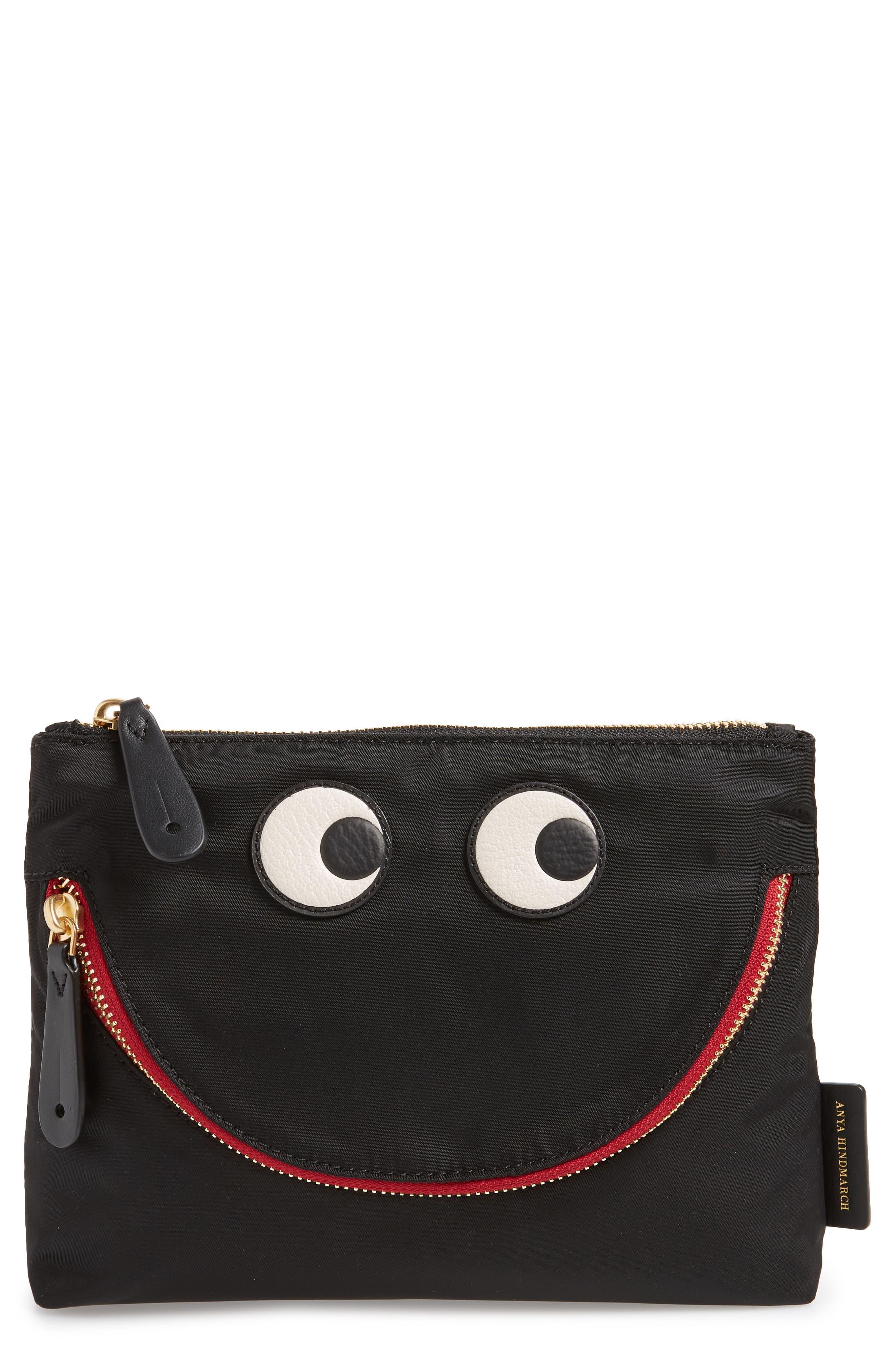 Happy Eyes Nylon Pouch - Black
