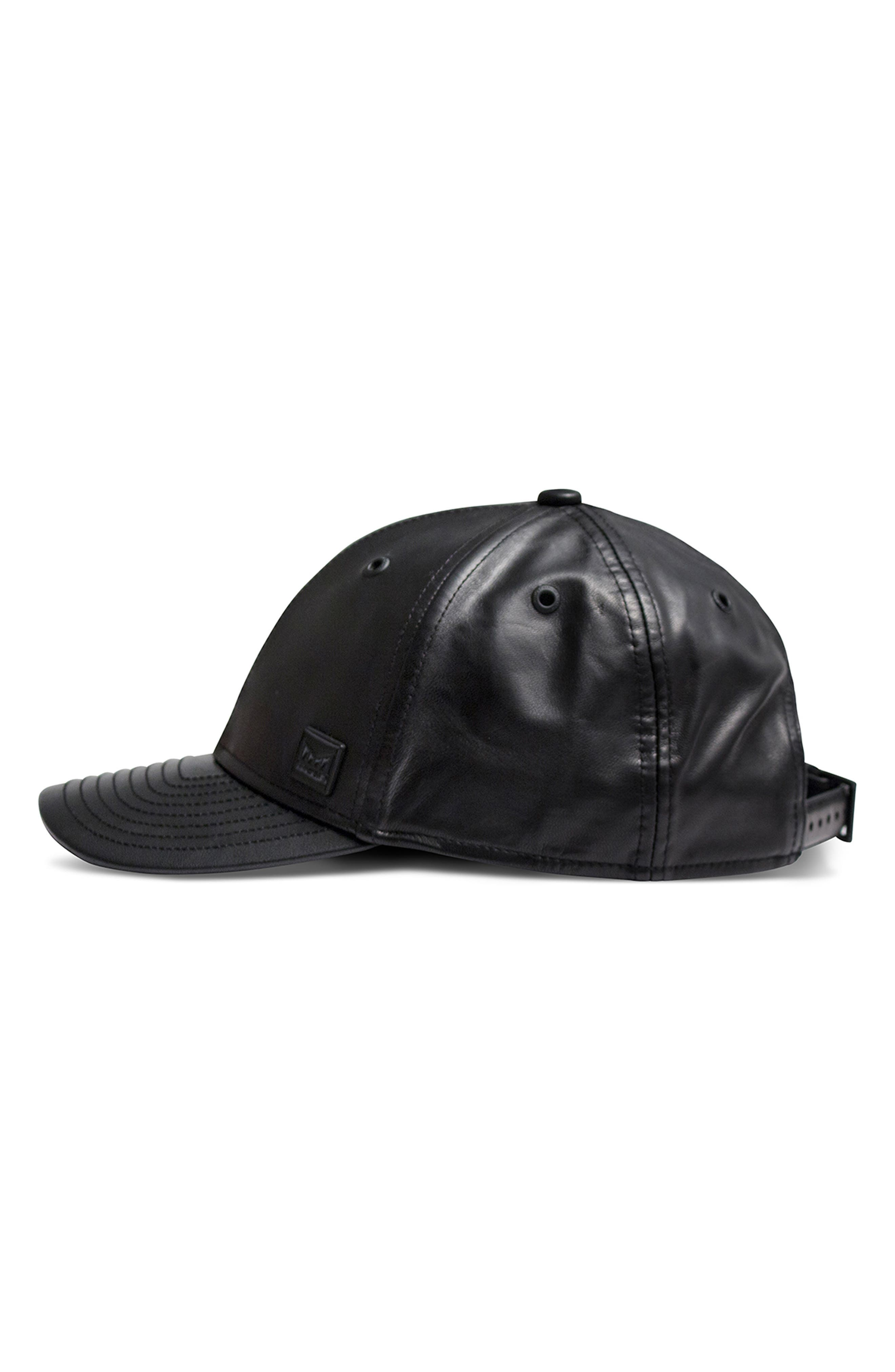 Voyage Elite Leather Ball Cap,                             Alternate thumbnail 4, color,                             BLACK