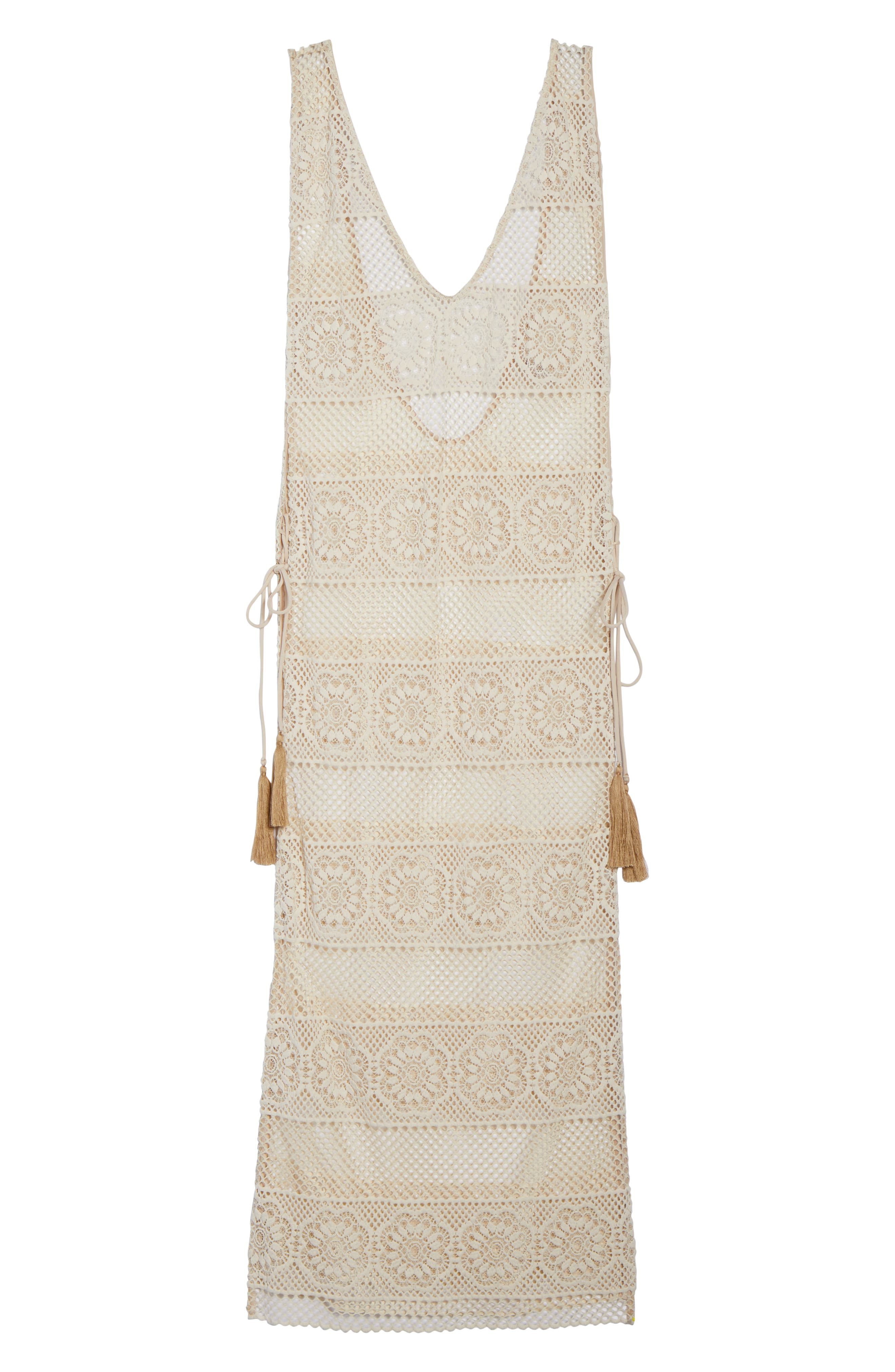 Joy Lace Cover-Up Dress,                             Alternate thumbnail 6, color,                             100