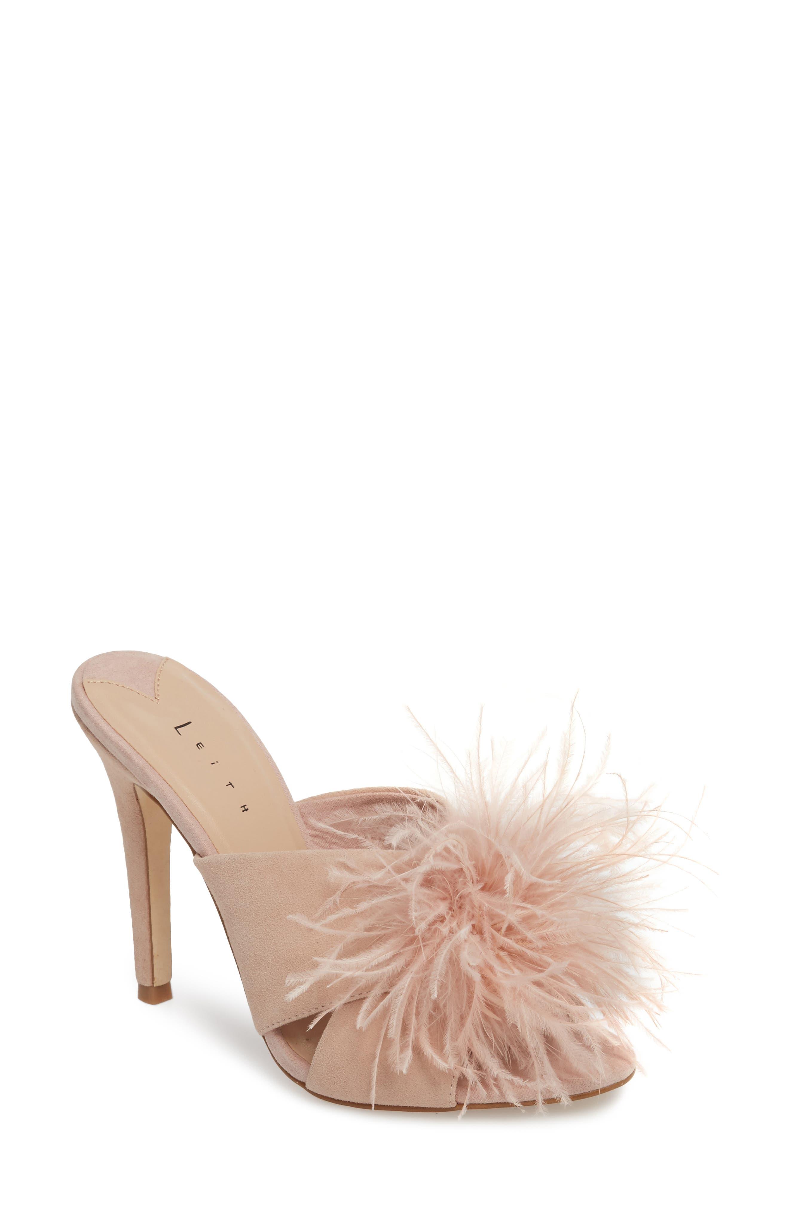 Edge Feather Sandal,                         Main,                         color, BLUSH SUEDE