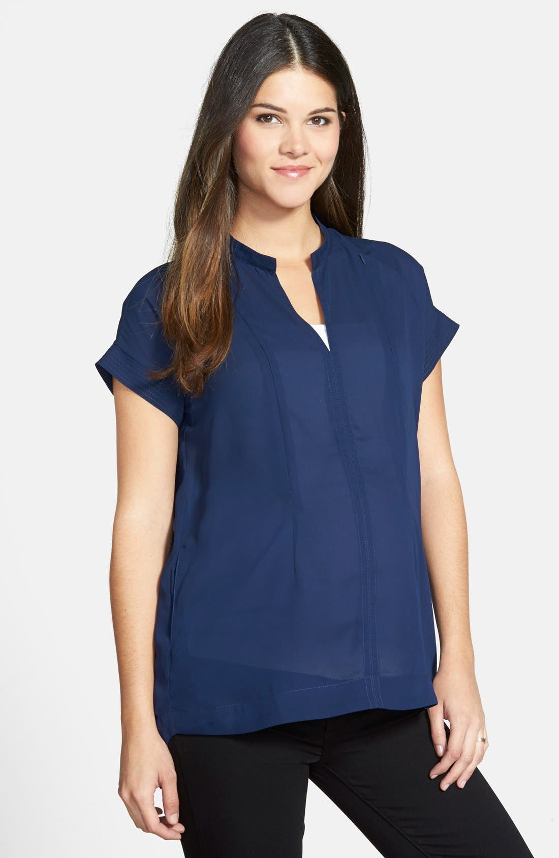 'Carrie' V-Neck Maternity Top,                             Main thumbnail 1, color,                             NAVY