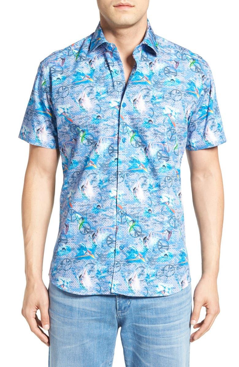 e13288213964 Bertigo  Hawaii  Regular Fit Short Sleeve Surf Print Sport Shirt ...