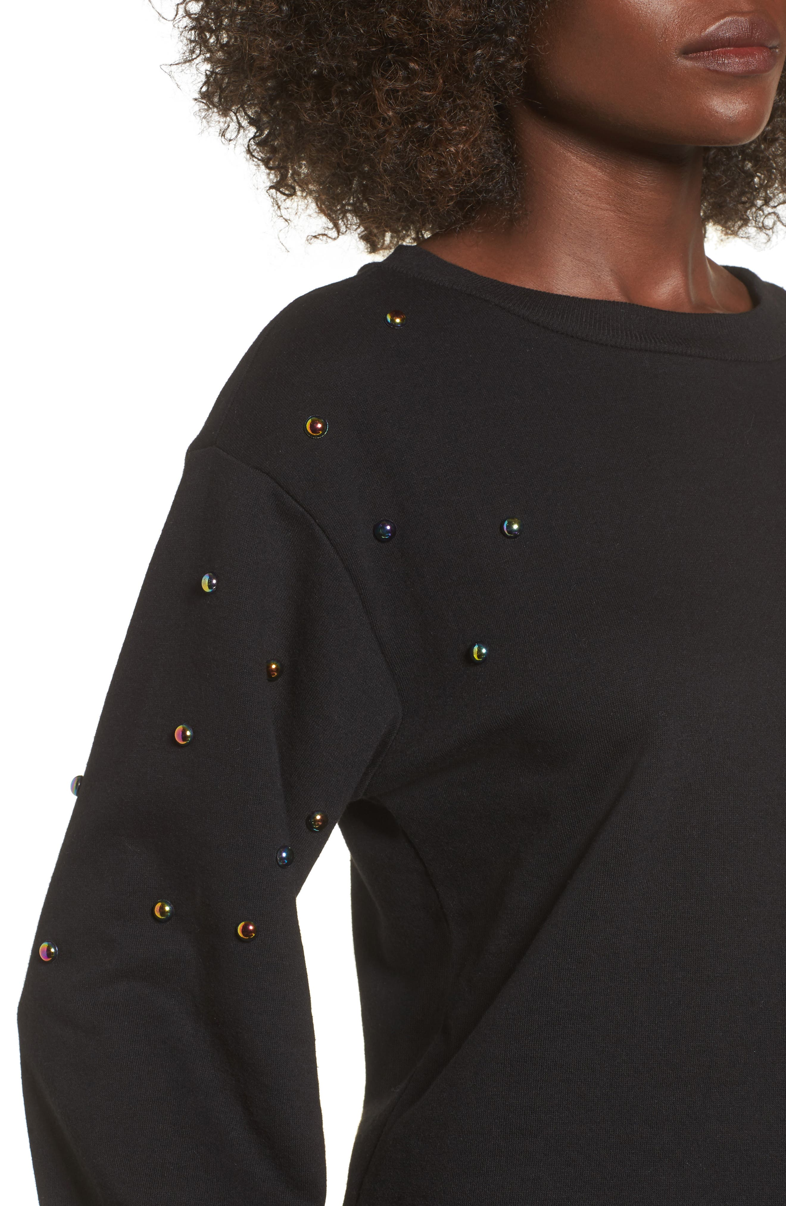 Studded Bell Sleeve Pullover,                             Alternate thumbnail 4, color,                             001