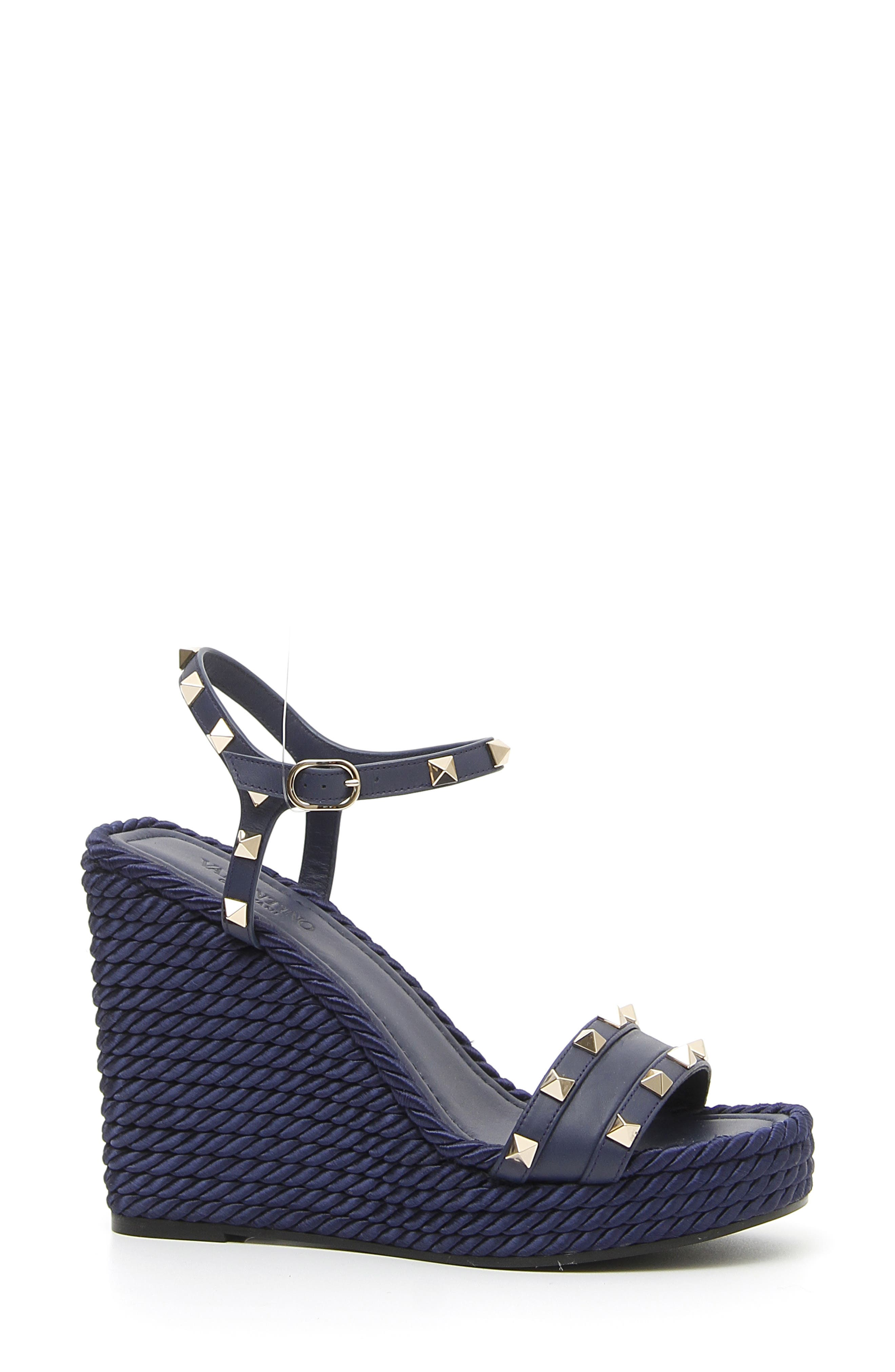 Rockstud Torchon Wedge Sandals in Pure Blue