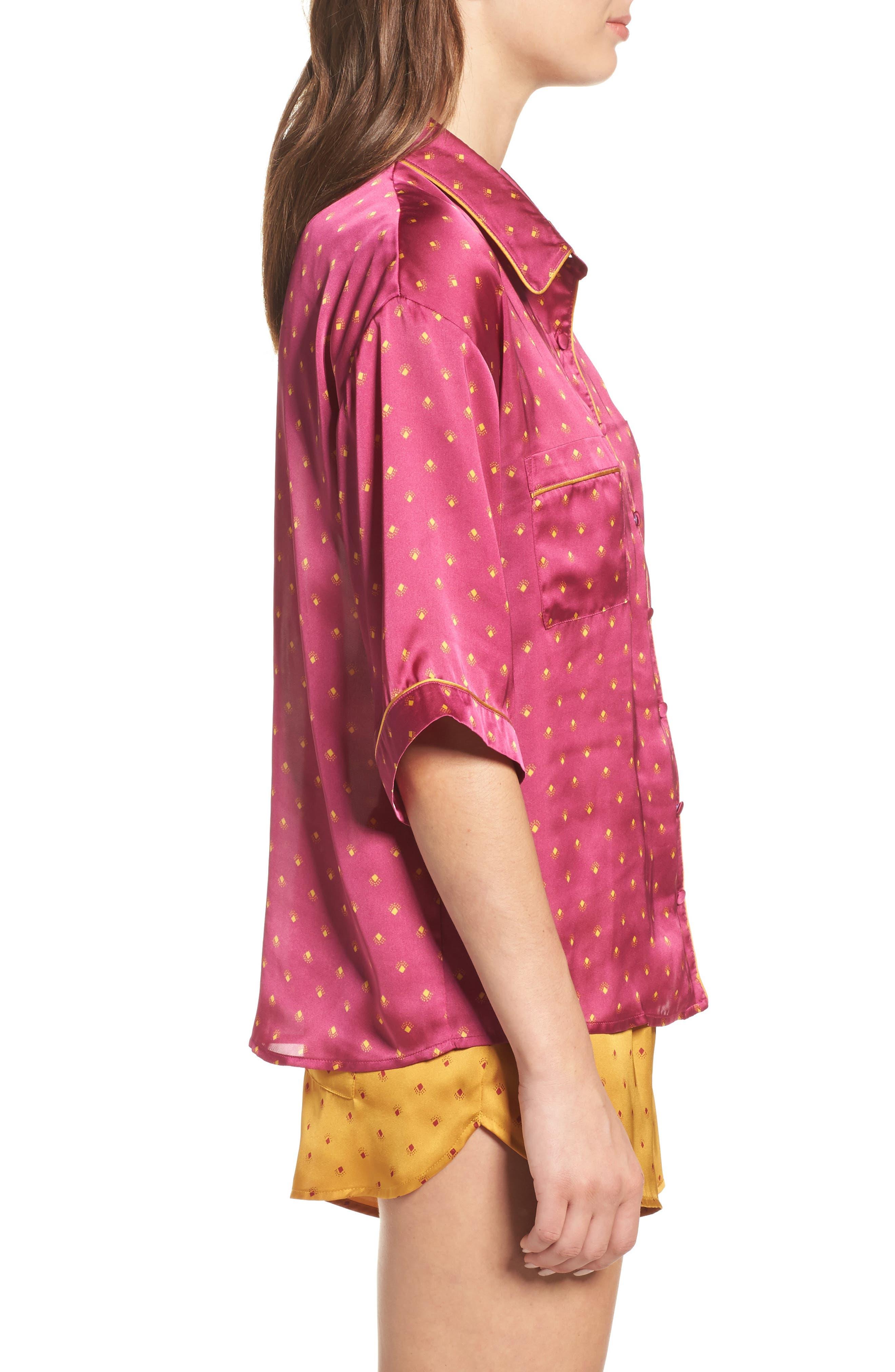 Short Satin Pajamas,                             Alternate thumbnail 9, color,