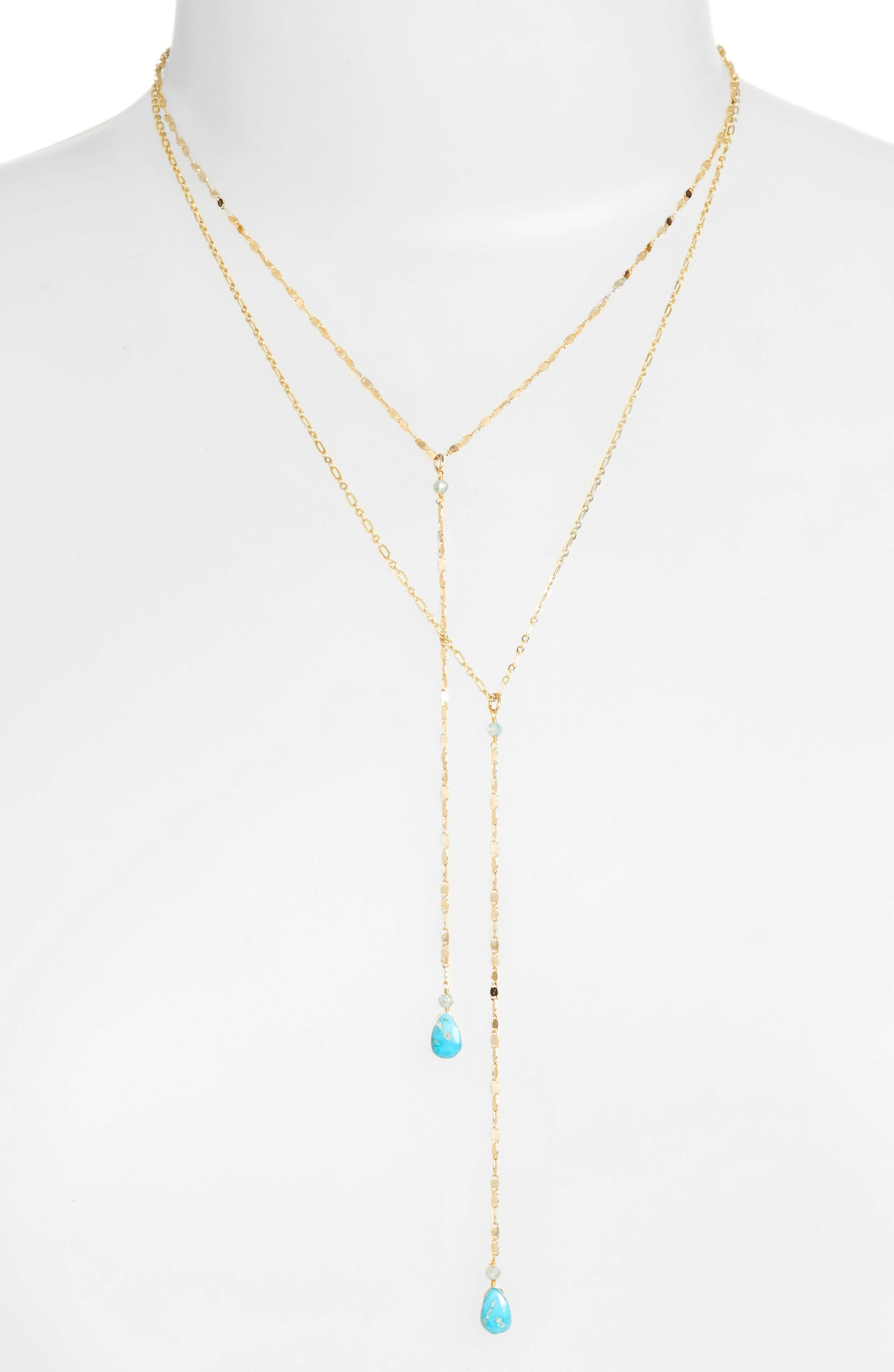 Layered Lariat Necklace,                             Main thumbnail 1, color,                             GOLD/ TURQUOISE