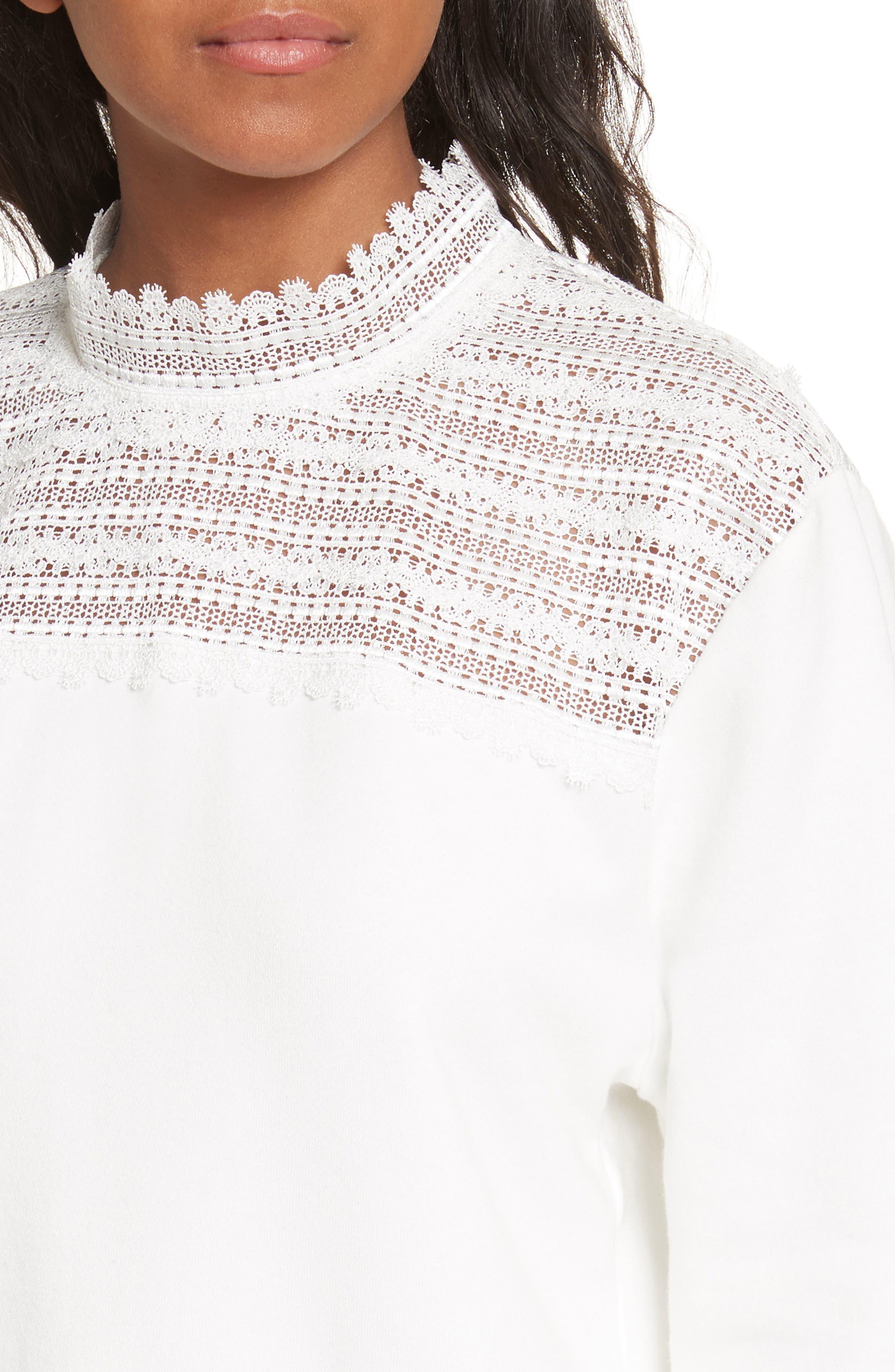 Lace Yoke Sweater,                             Alternate thumbnail 4, color,                             900