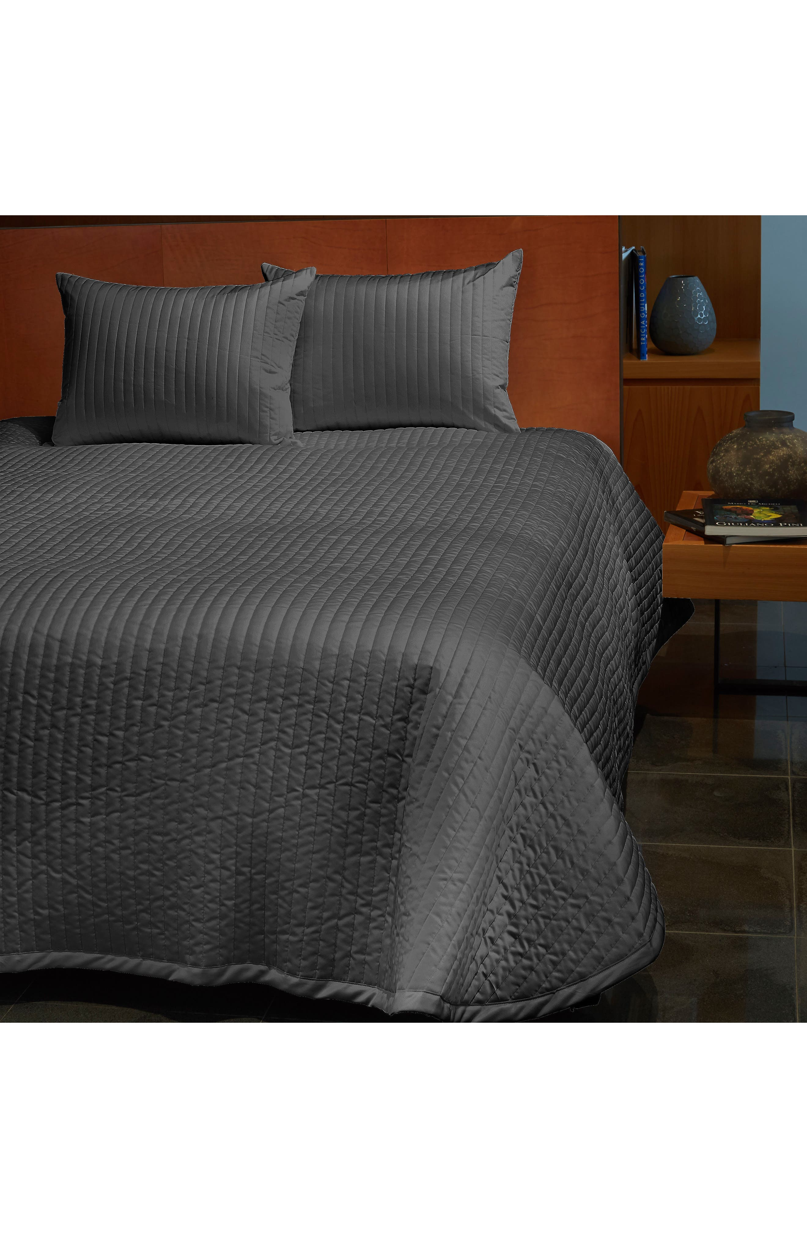 Sienna 300 Thread Count Quilted Coverlet, Main, color, LEAD GREY