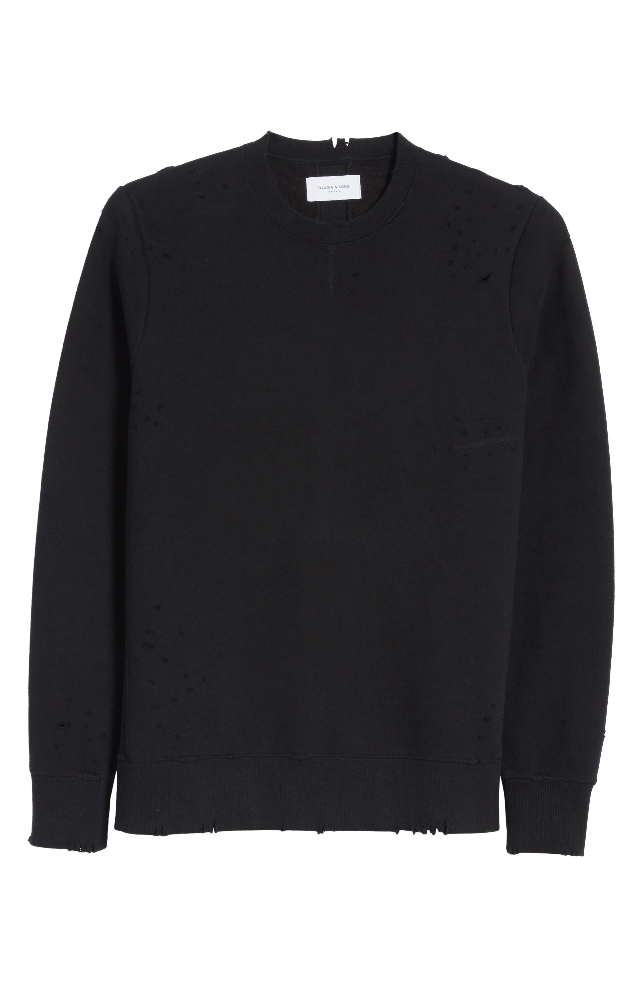 Distressed Crewneck Sweatshirt,                             Alternate thumbnail 6, color,                             001