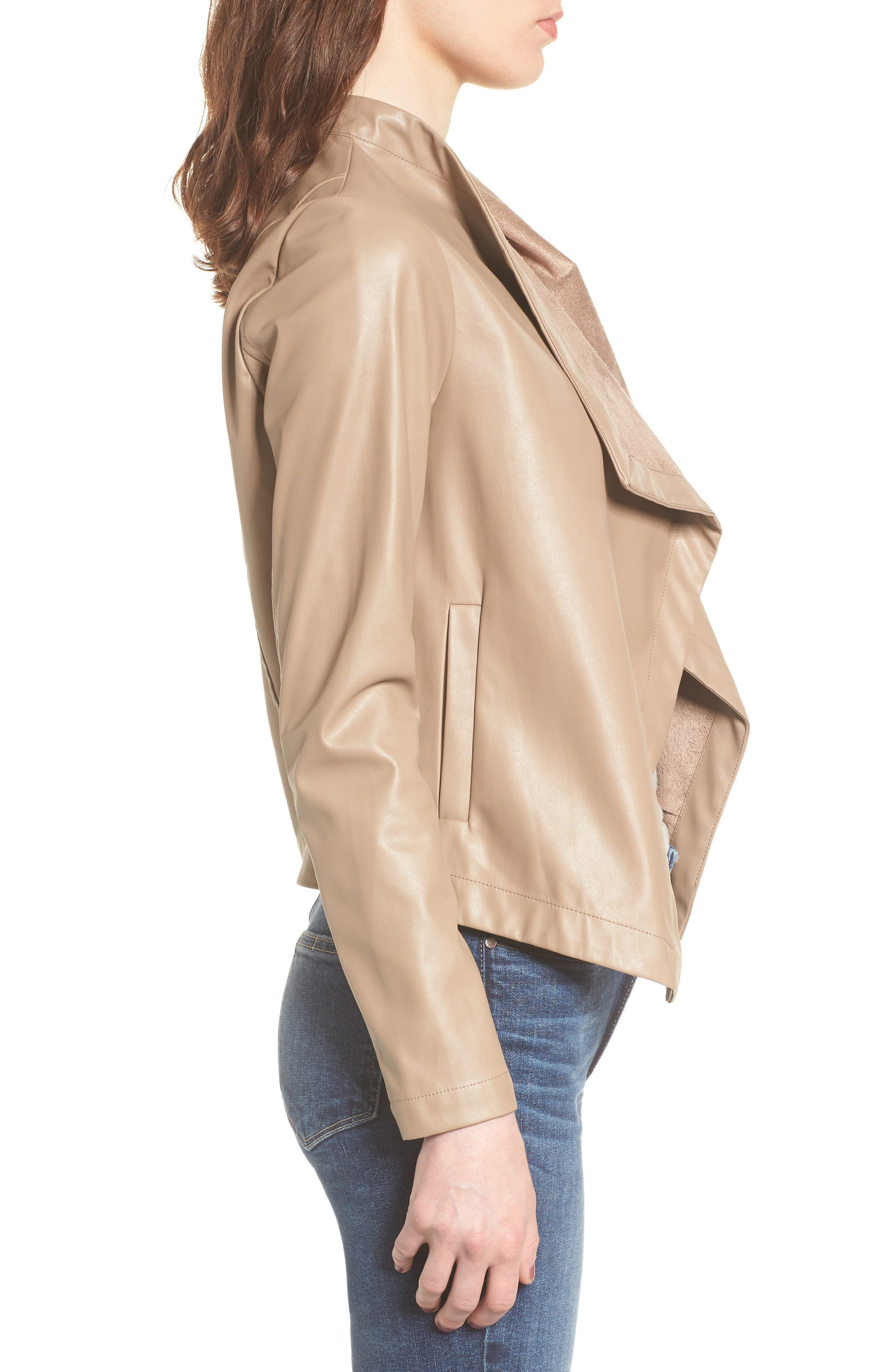 'Peppin' Drape Front Faux Leather Jacket,                             Alternate thumbnail 3, color,                             240
