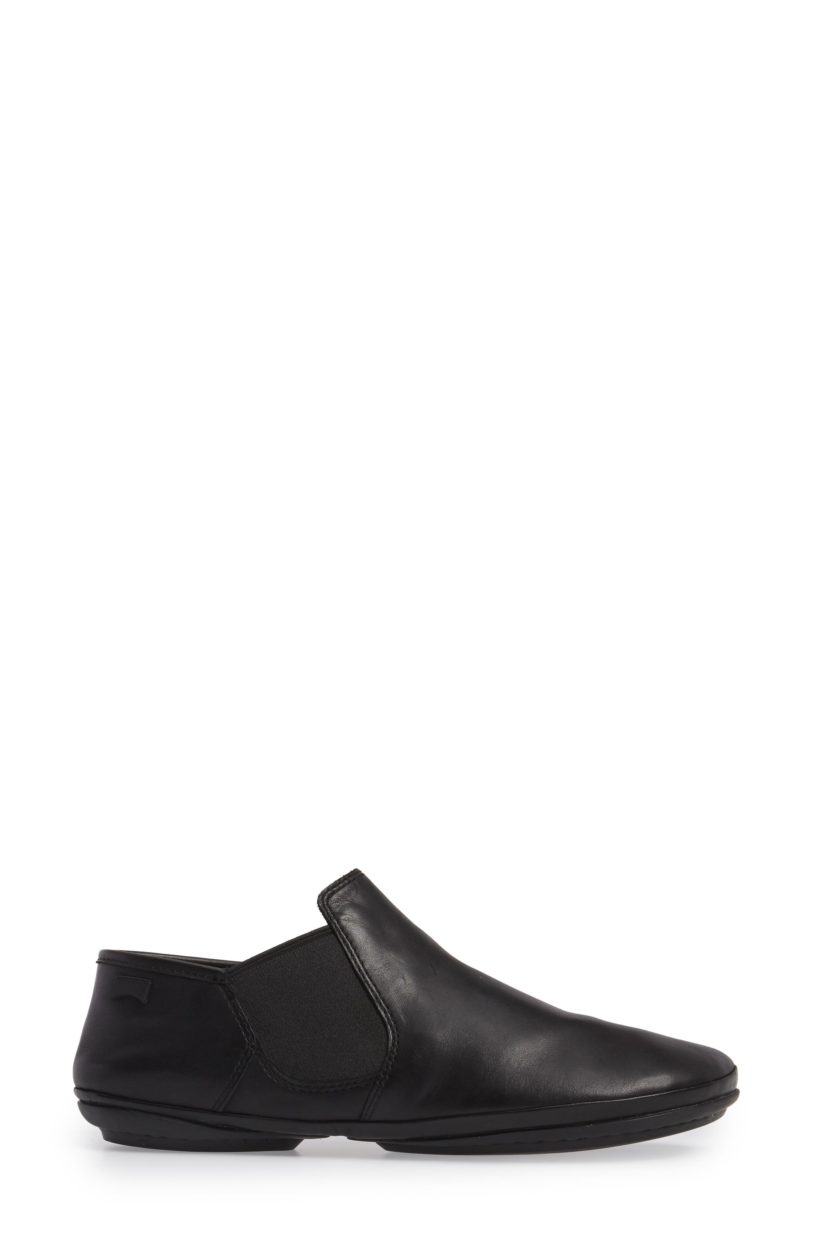 'Right Nina' Bootie,                             Alternate thumbnail 3, color,                             BLACK LEATHER