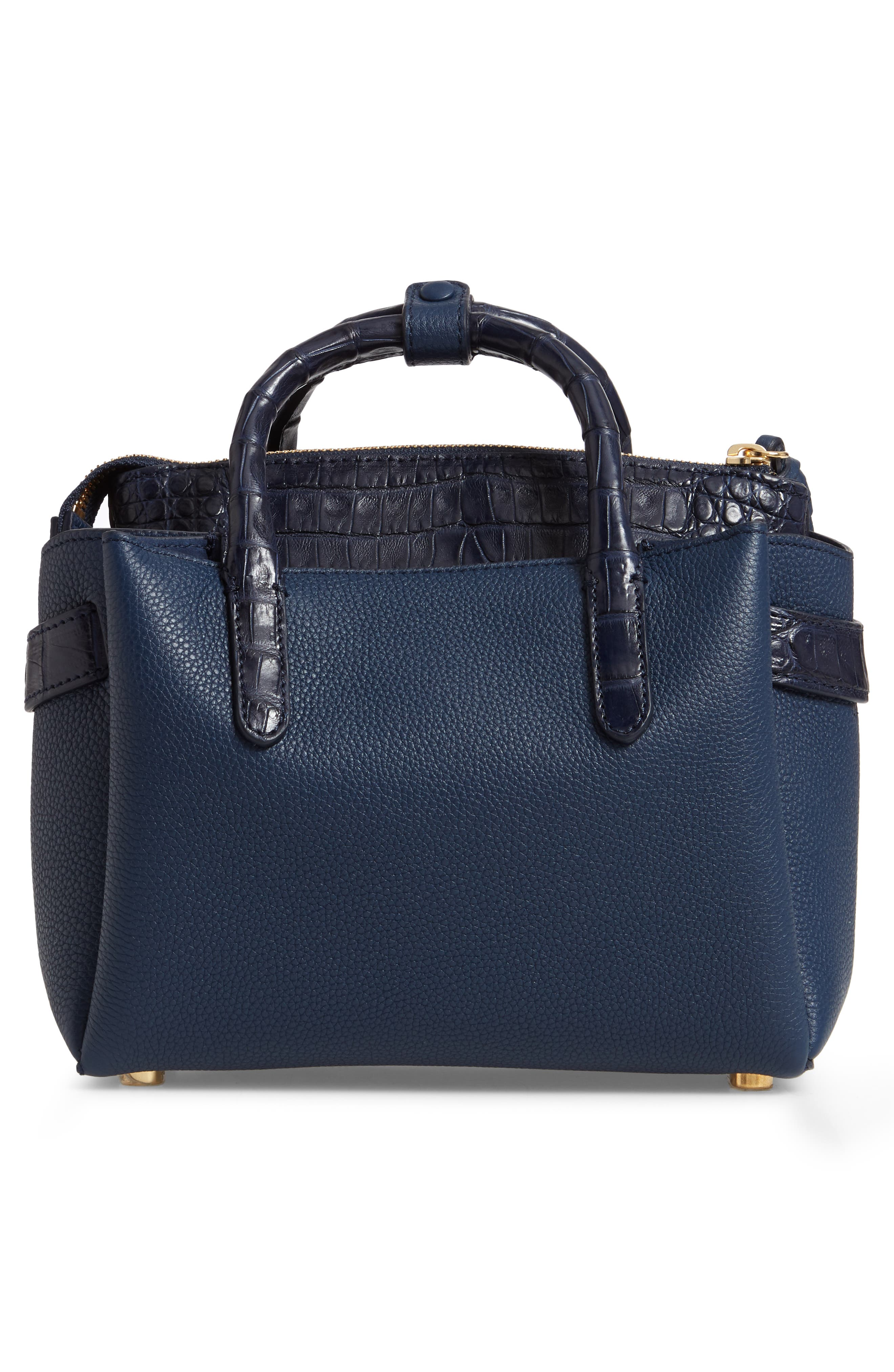 Mini Cristie Leather & Genuine Crocodile Satchel,                             Alternate thumbnail 4, color,                             DARK NAVY