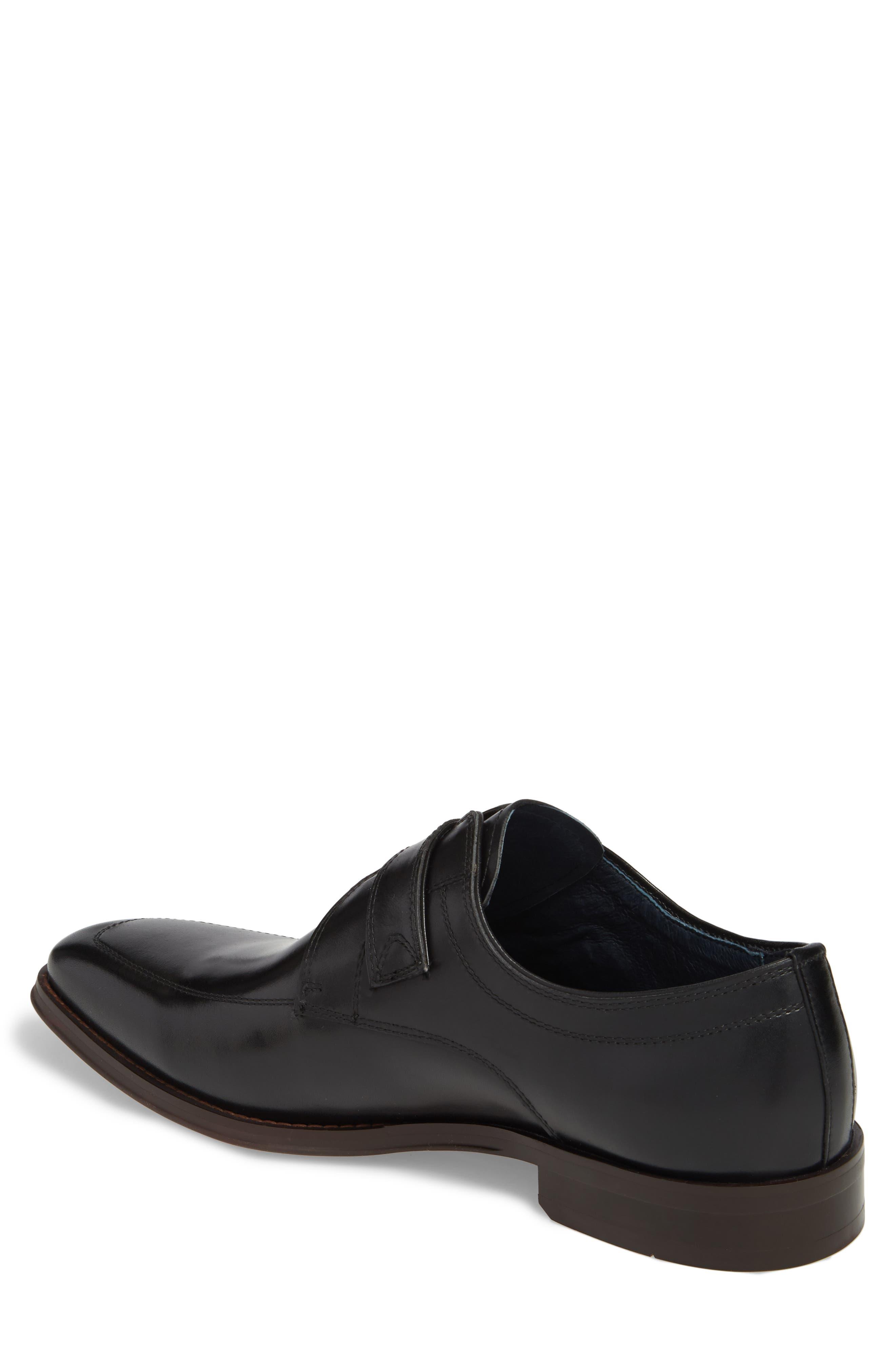 Merlot Single Buckle Monk Shoe,                             Alternate thumbnail 2, color,                             BLACK LEATHER