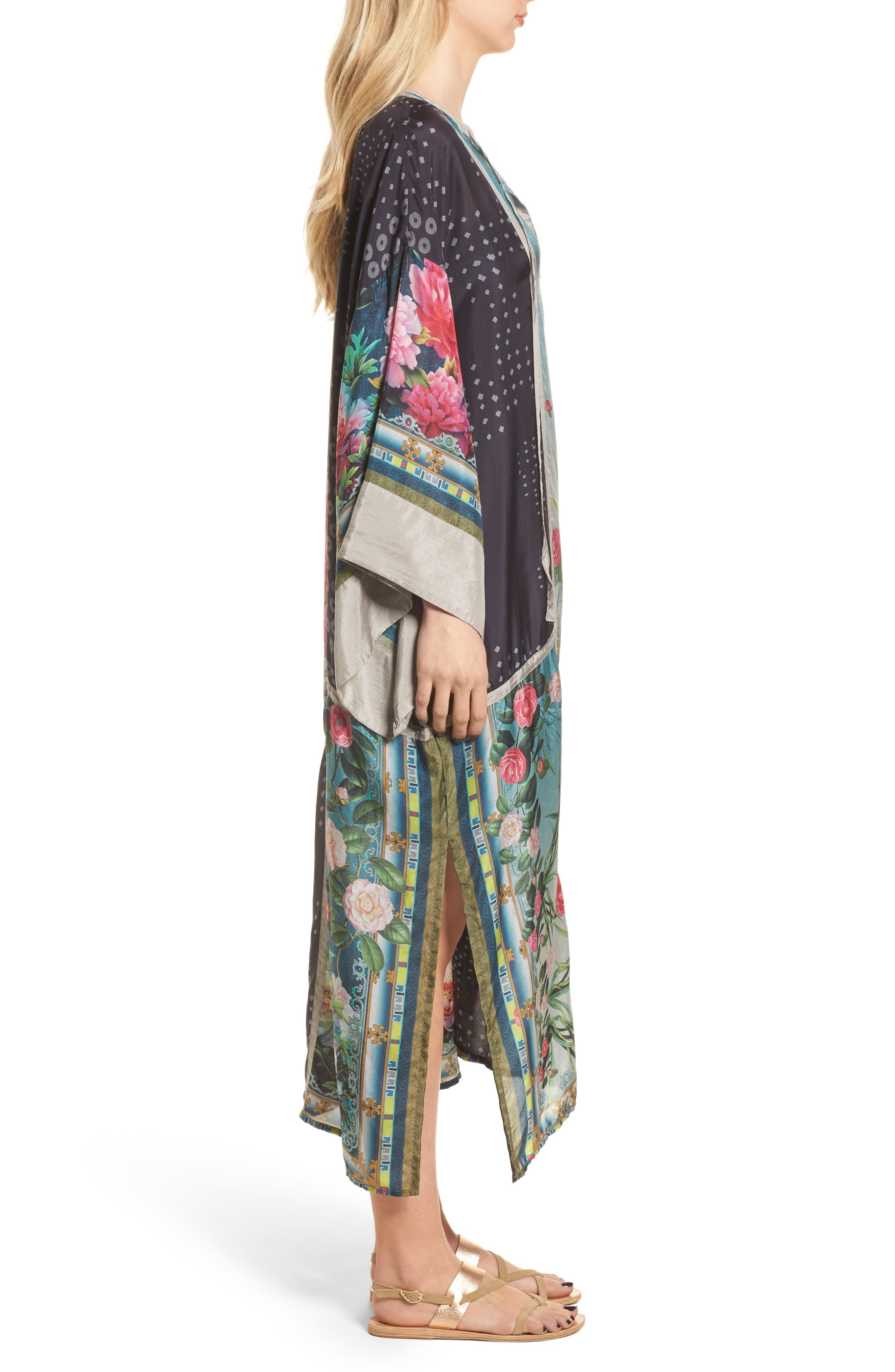 Camuba Heaven Silk Kimono Dress,                             Alternate thumbnail 3, color,                             010
