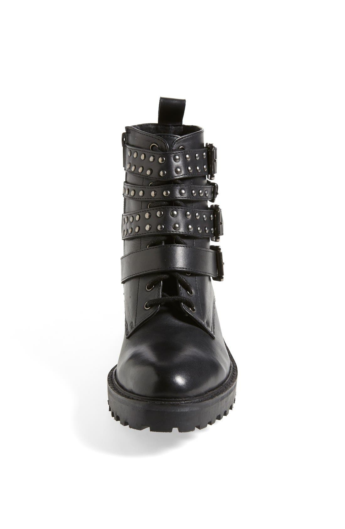 'Apply' Lace-Up Biker Boot,                             Alternate thumbnail 2, color,                             001