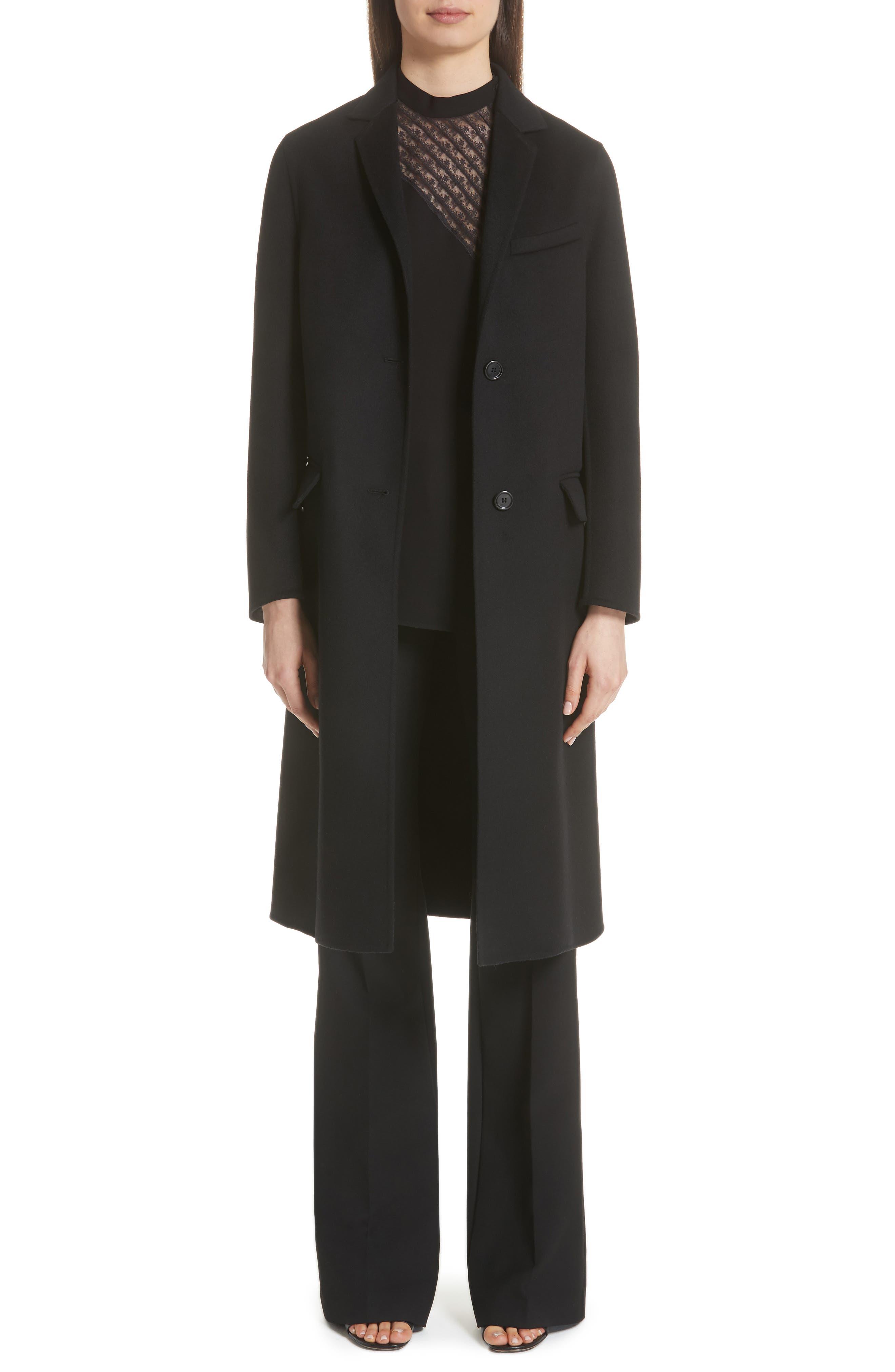 VLTN Logo Back Wool & Cashmere Coat,                             Main thumbnail 1, color,                             BLACK