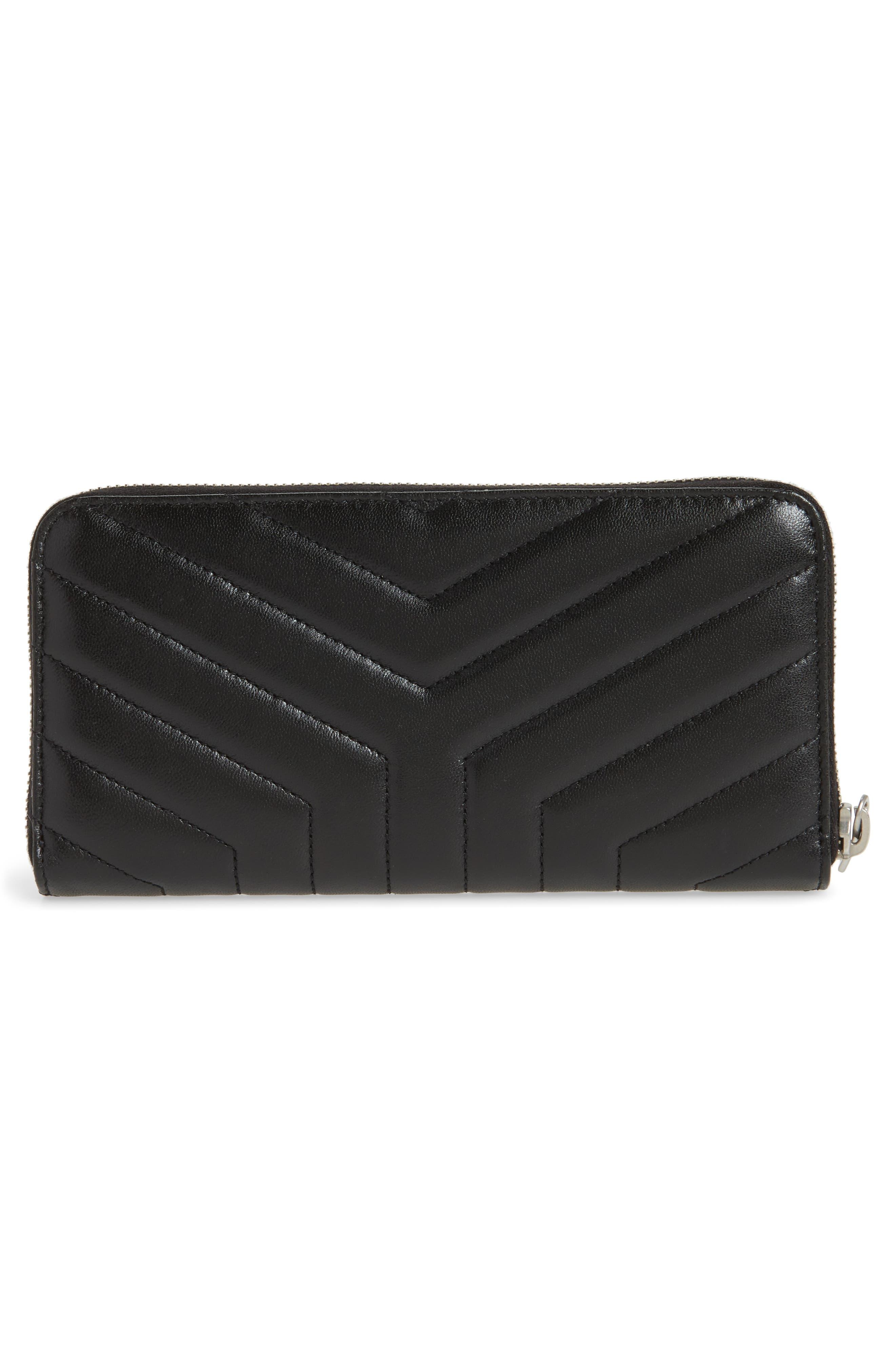 Loulou Matelassé Leather Zip-Around Wallet,                             Alternate thumbnail 3, color,                             NOIR