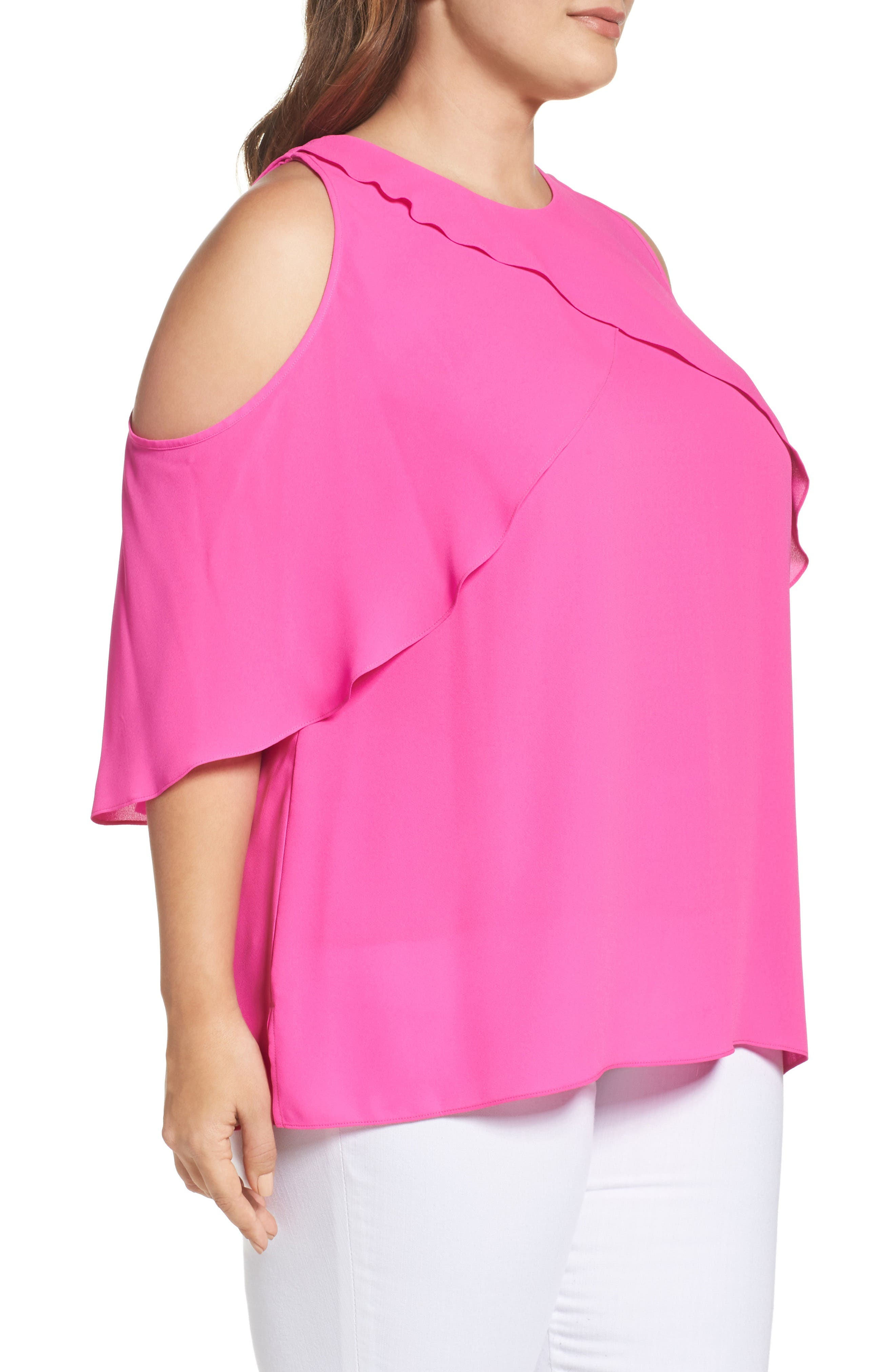 Cold Shoulder Ruffled Blouse,                             Alternate thumbnail 15, color,