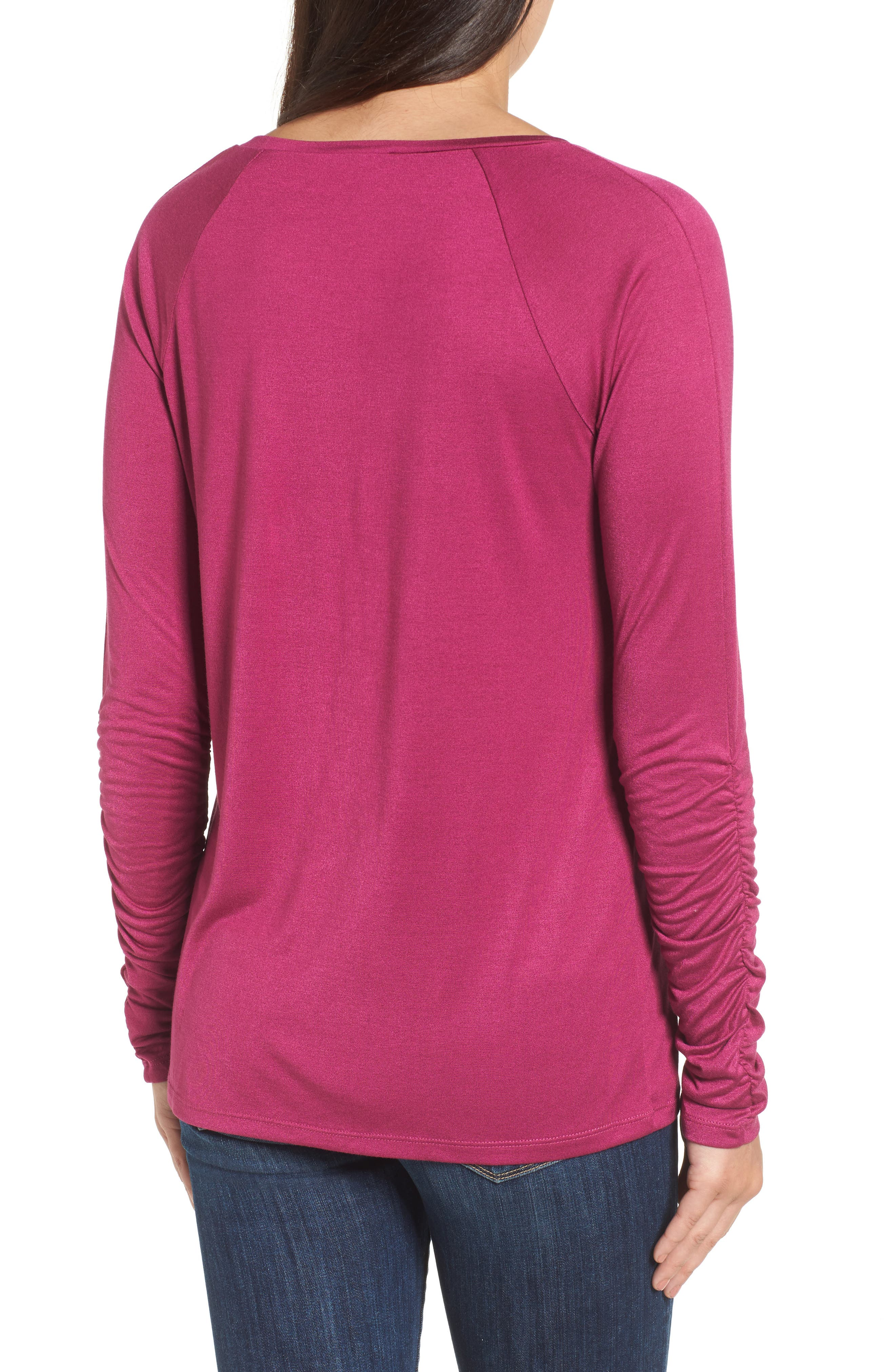 Ruched Sleeve Tee,                             Alternate thumbnail 8, color,