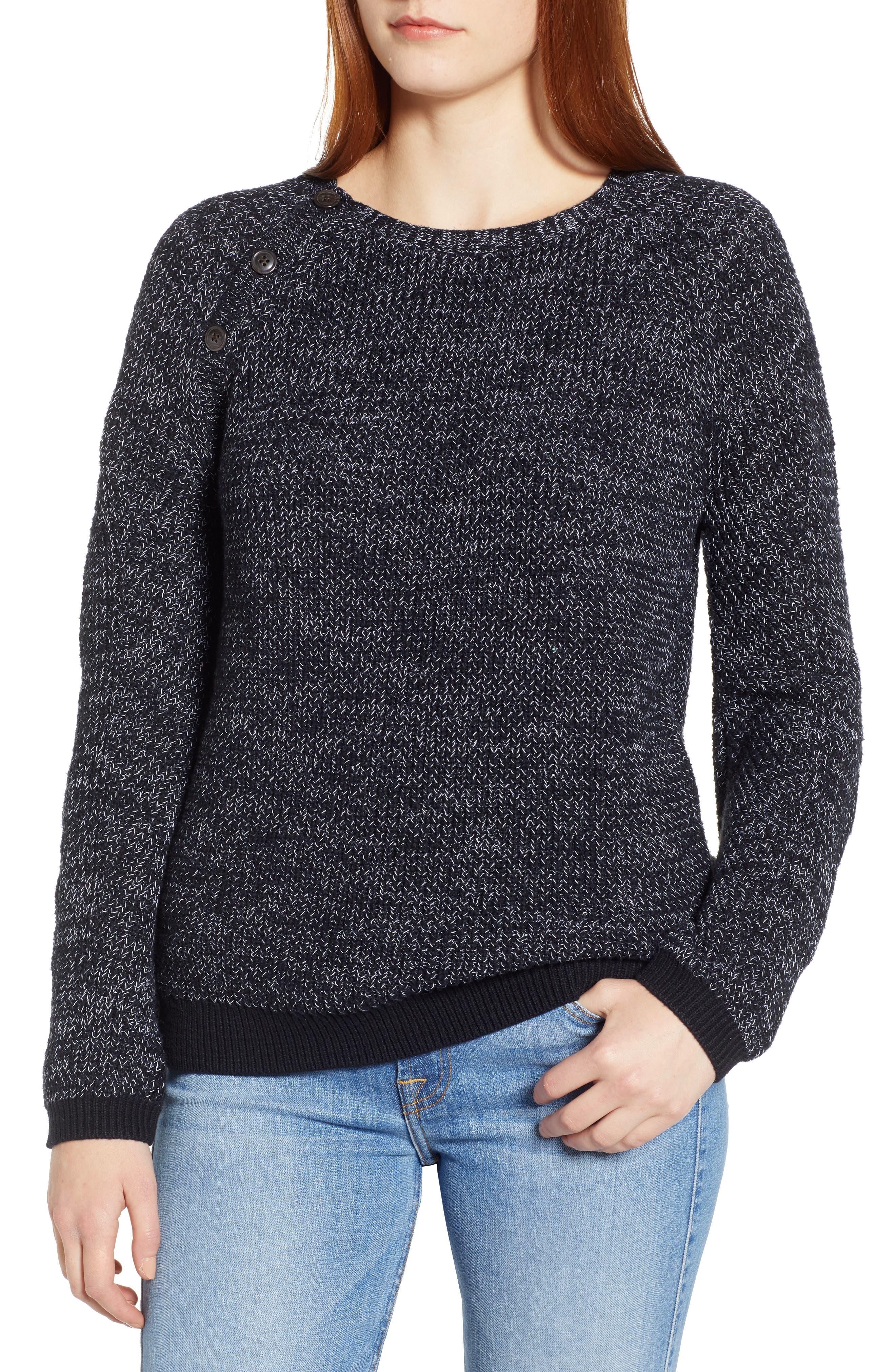 Raglan Sleeve Sweater,                         Main,                         color, BLACK CREW MARL