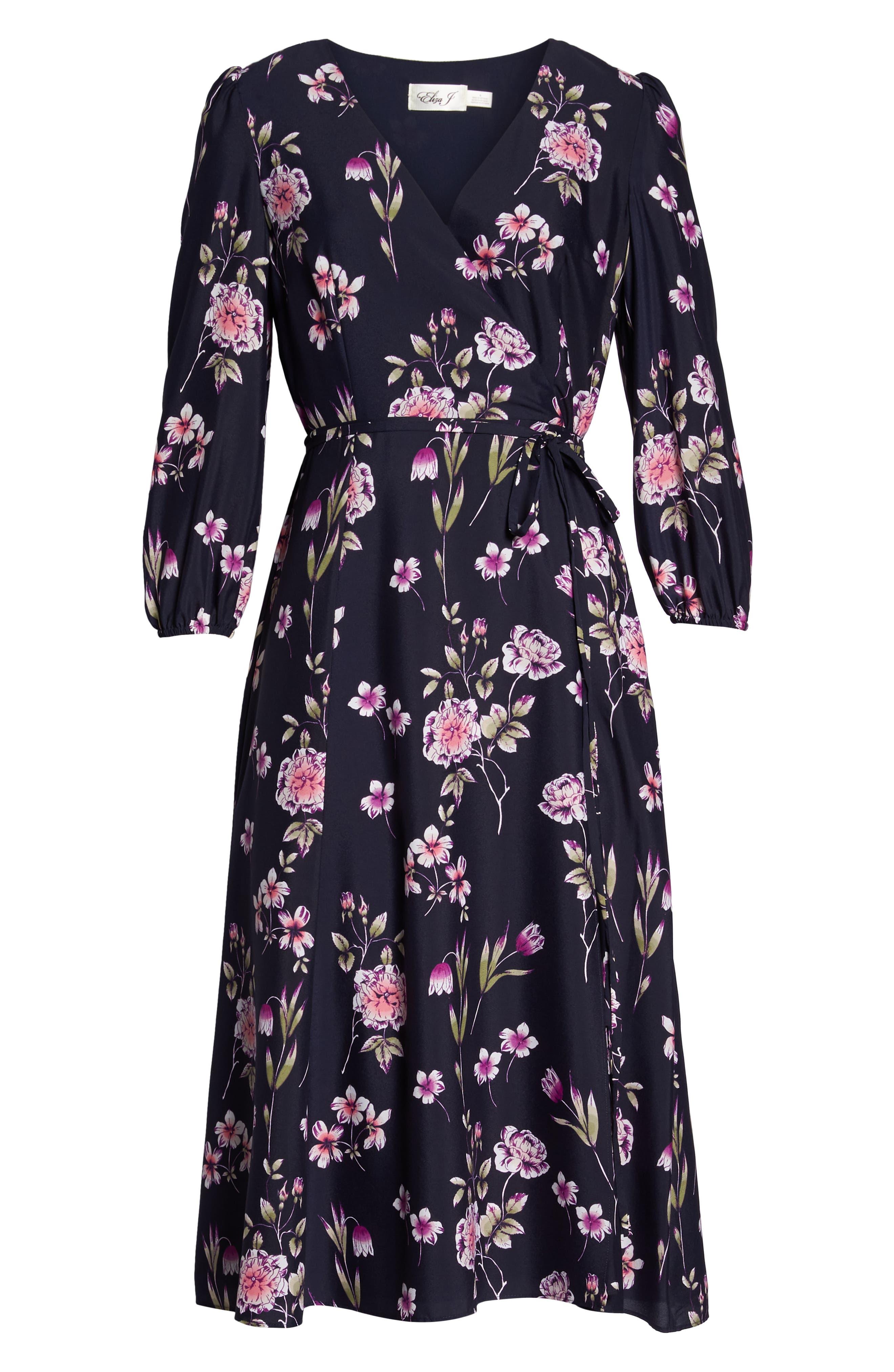 Floral Print Wrap Dress,                             Alternate thumbnail 7, color,                             410