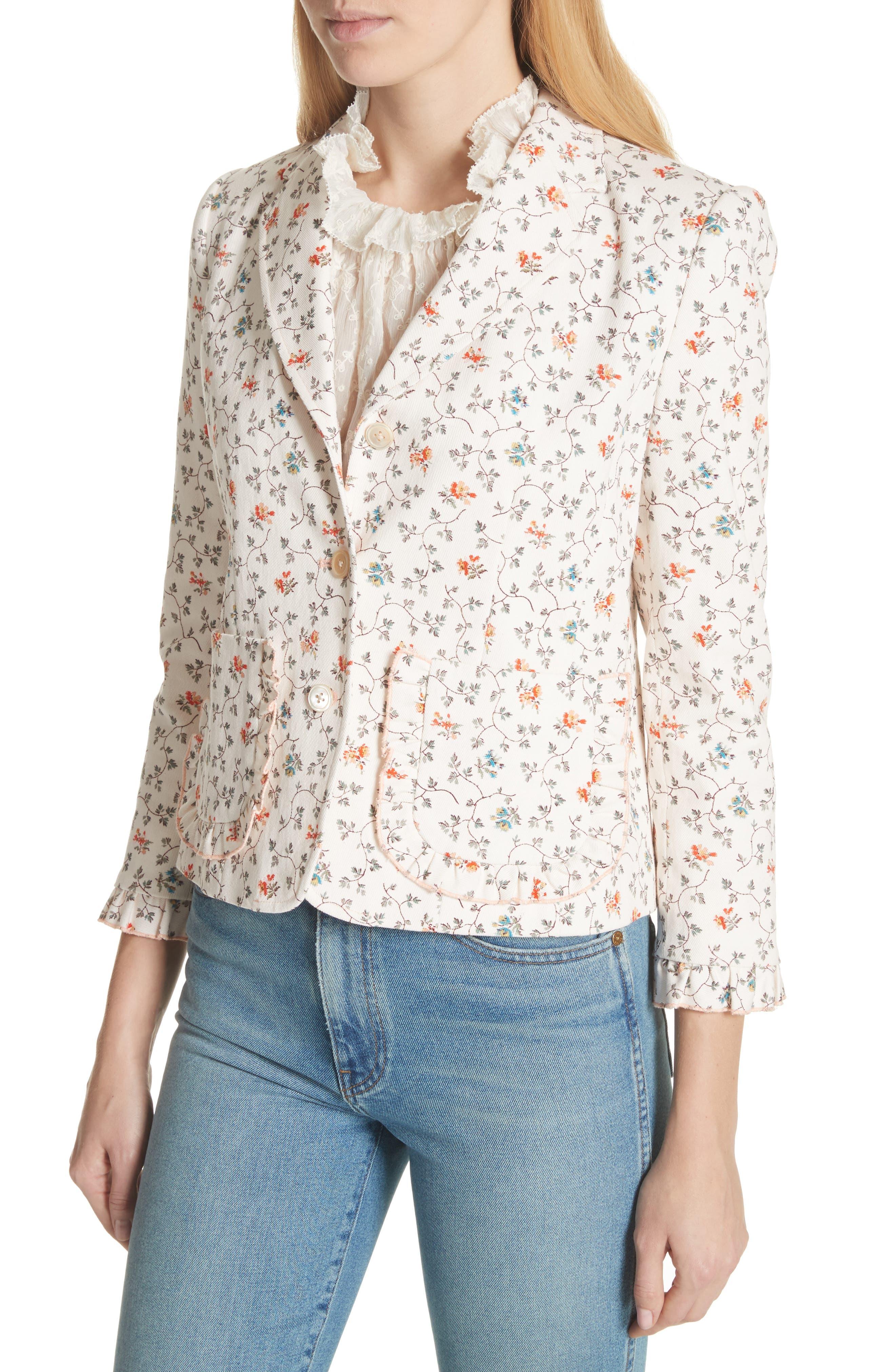 Floral Vine Twill Jacket,                             Alternate thumbnail 4, color,