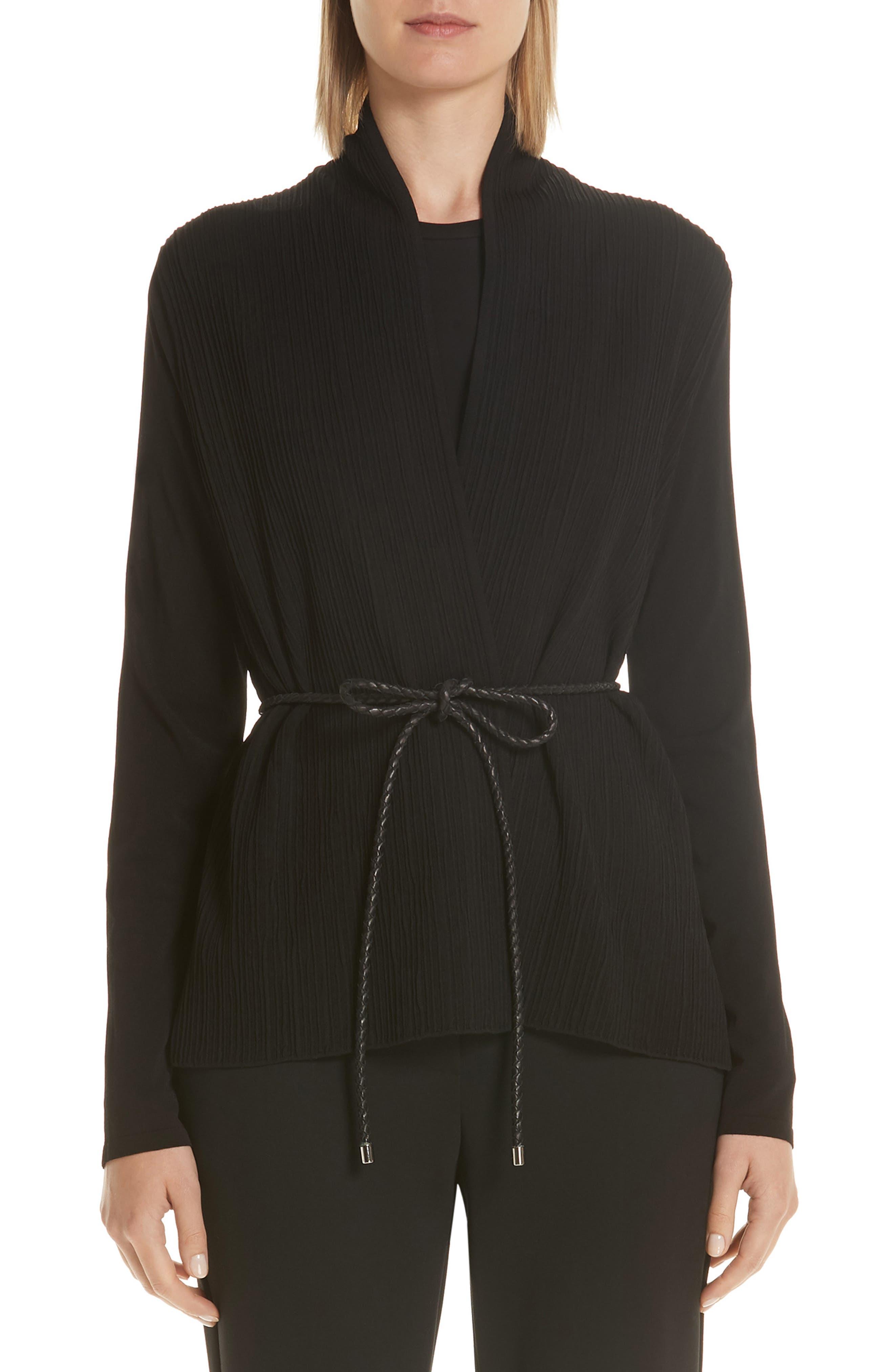 Vorra Belted Knitted Plisse Cardigan in Black