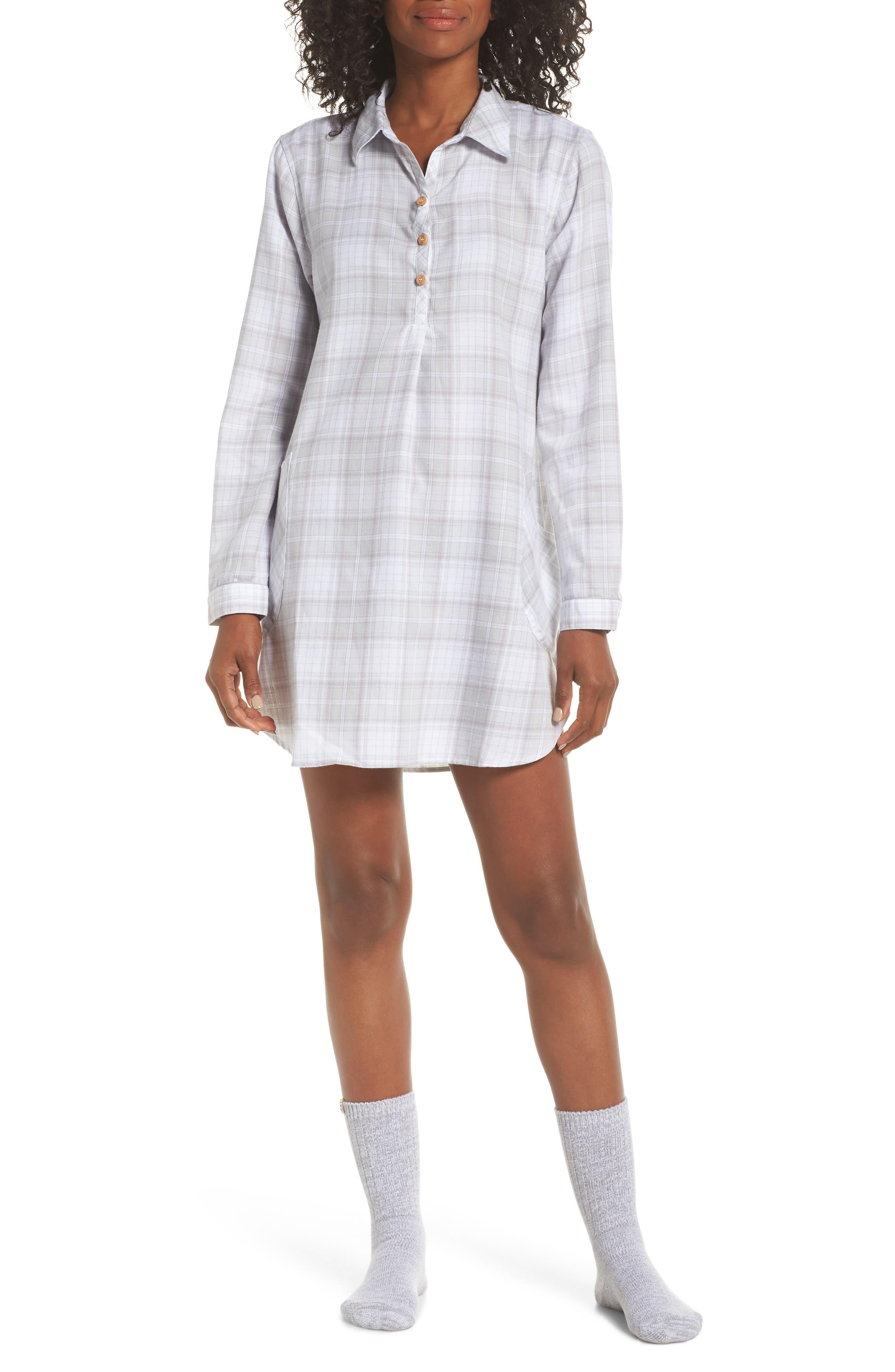 Sleep Shirt & Socks Set,                         Main,                         color, LAVENDER AURA PLAID