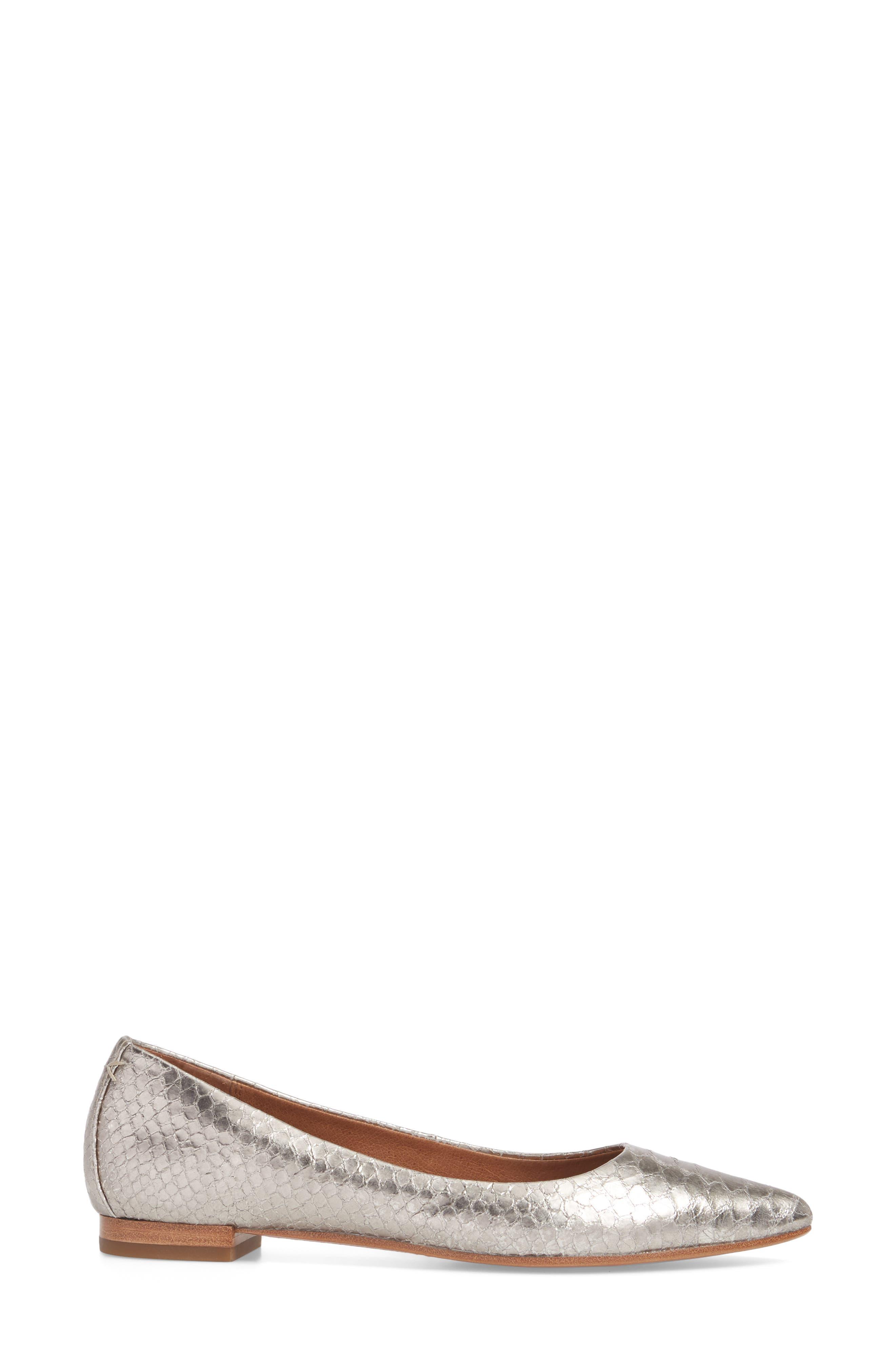 Sienna Pointy Toe Ballet Flat,                             Alternate thumbnail 3, color,                             040