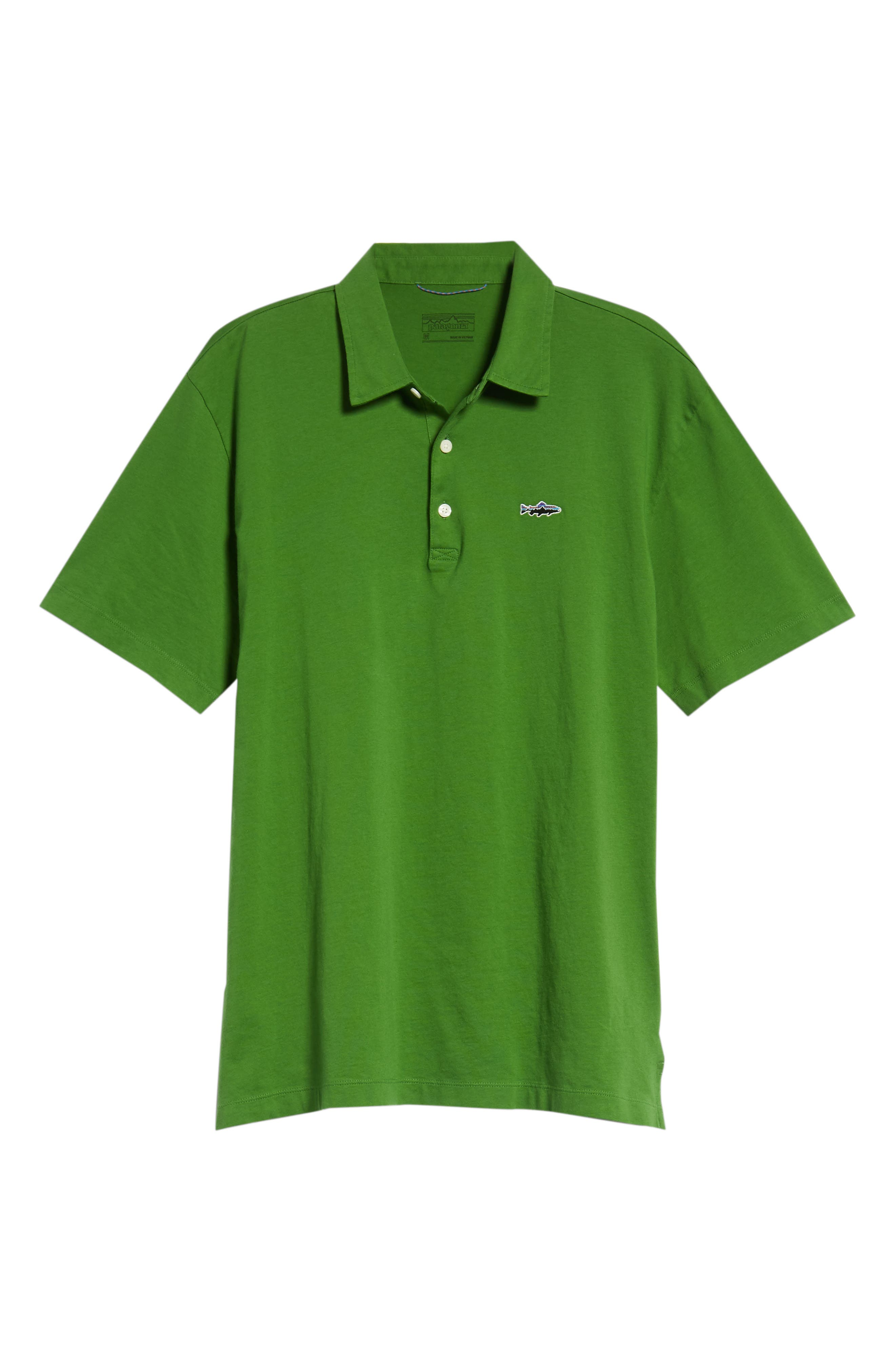 'Trout Fitz Roy' Organic Cotton Polo,                             Alternate thumbnail 6, color,                             MYRTLE GREEN