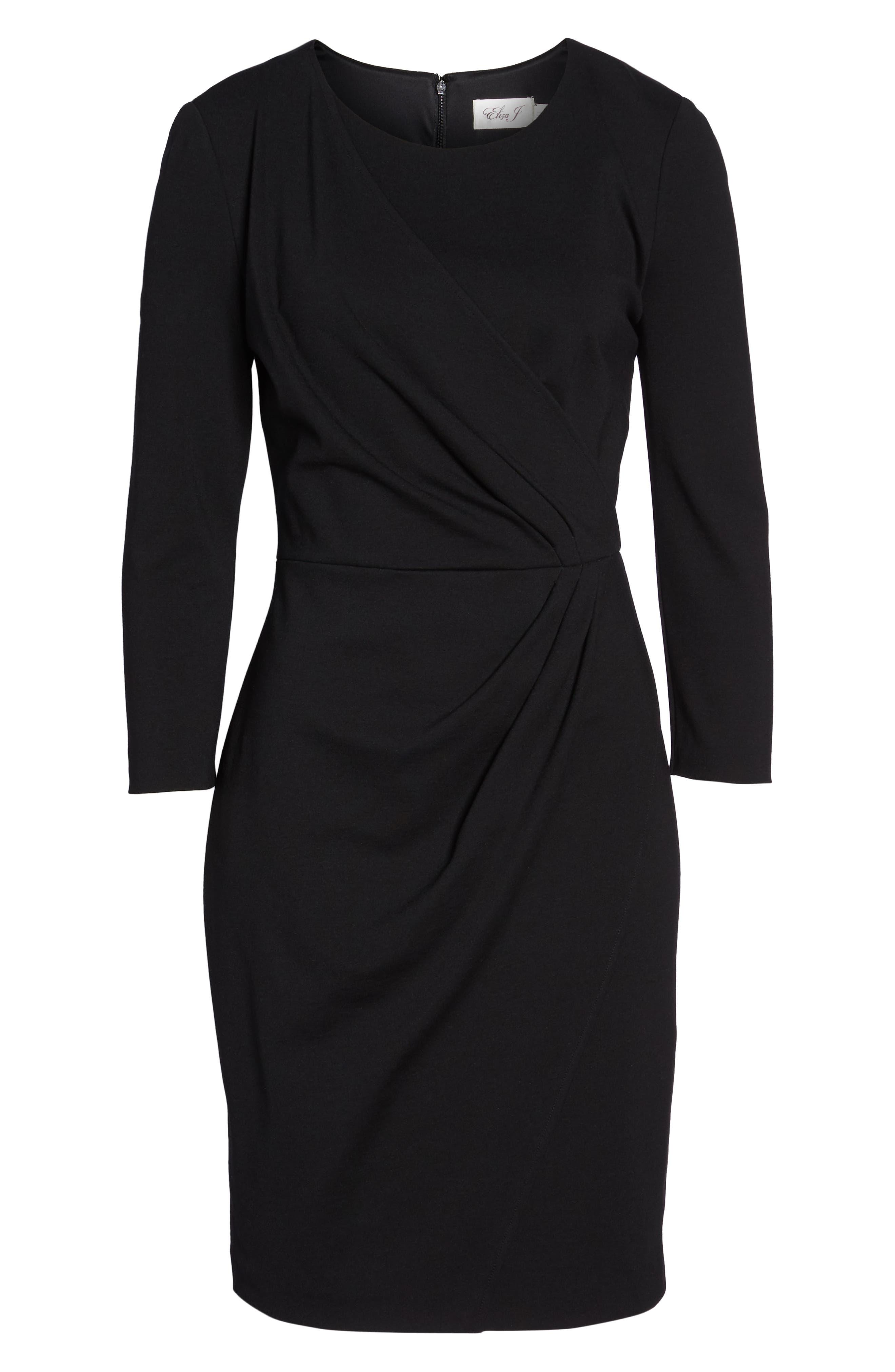 Faux Wrap Ponte Sheath Dress,                             Alternate thumbnail 8, color,                             001