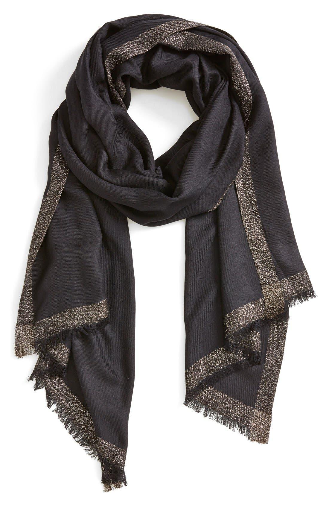 Shimmer Border Silk Wrap,                         Main,                         color, 001