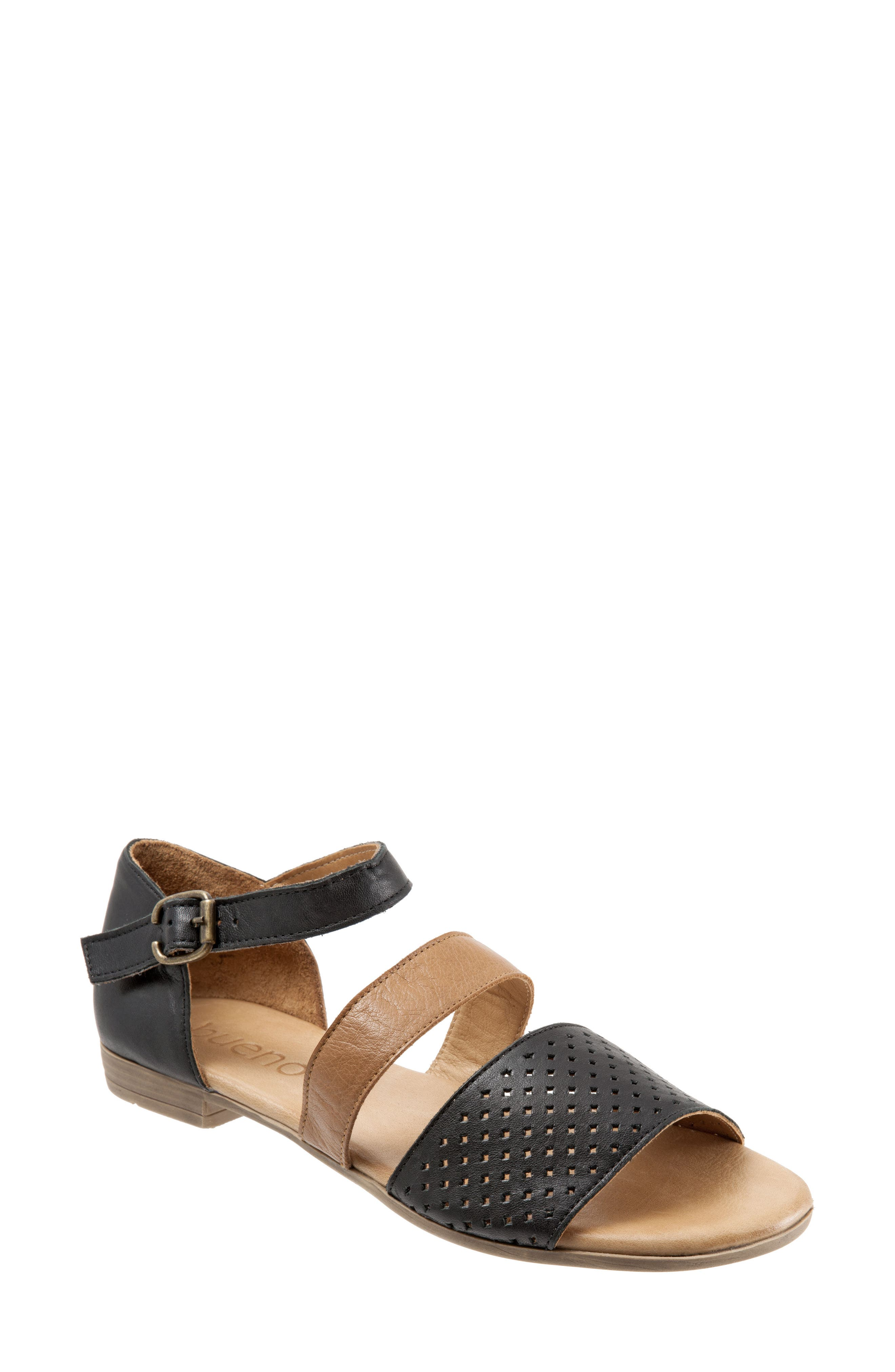 Janet Perforated Flat Sandal,                         Main,                         color, BLACK LEATHER