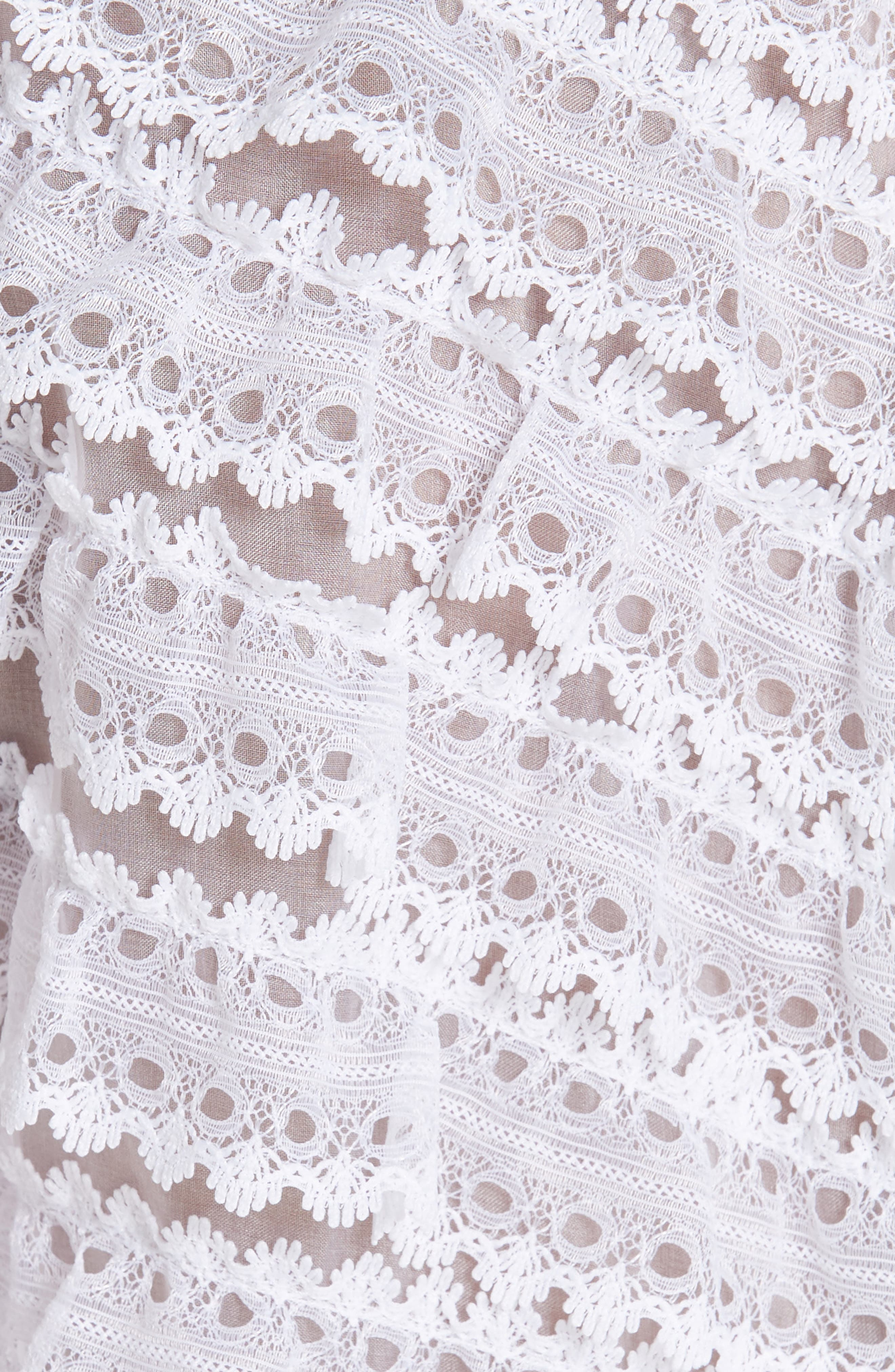 Ruffle Lace Silk Blouse,                             Alternate thumbnail 5, color,                             ECRU