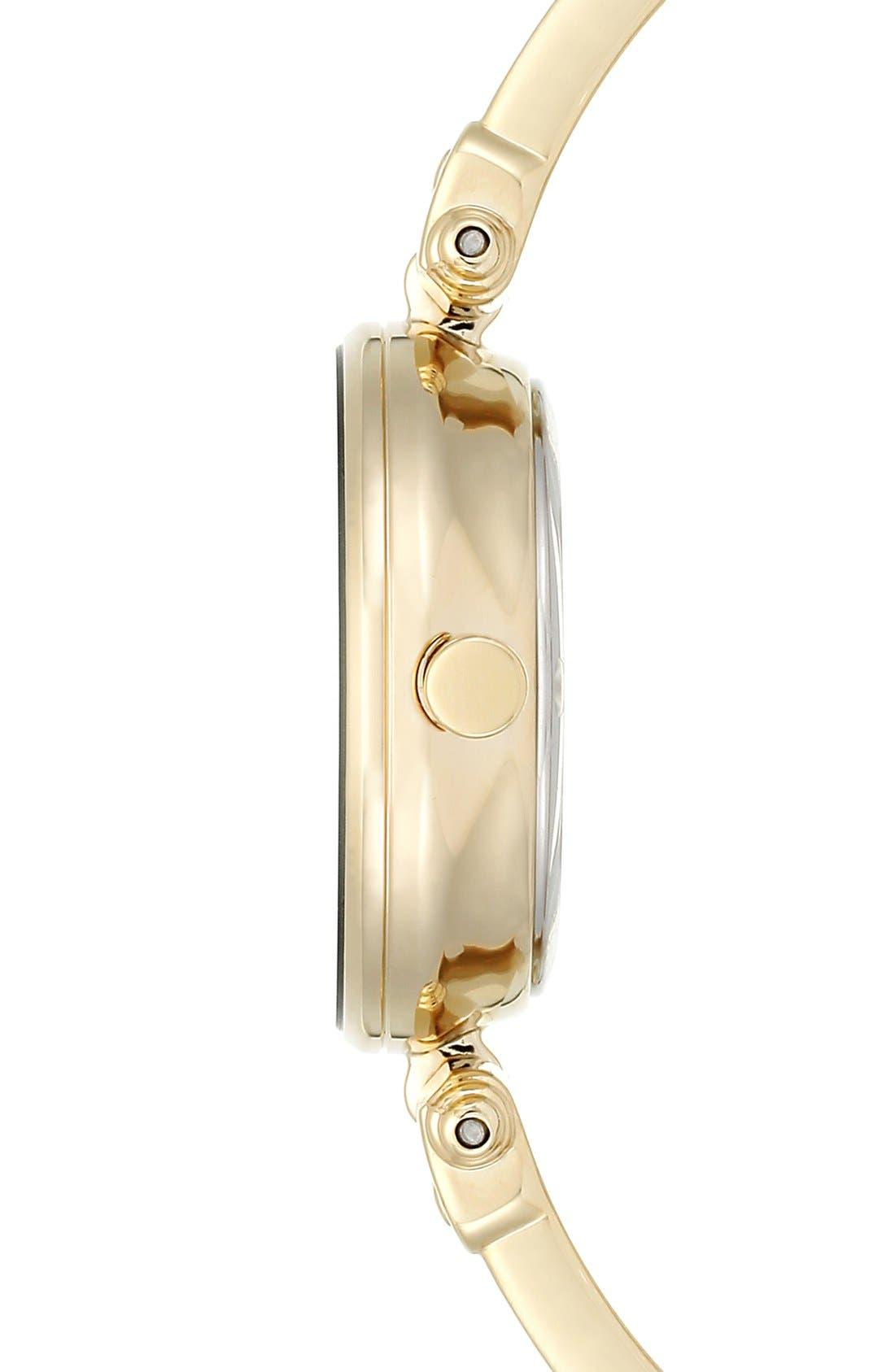 Diamond Marker Bangle Watch, 28mm,                             Alternate thumbnail 3, color,                             BLACK/ GOLD