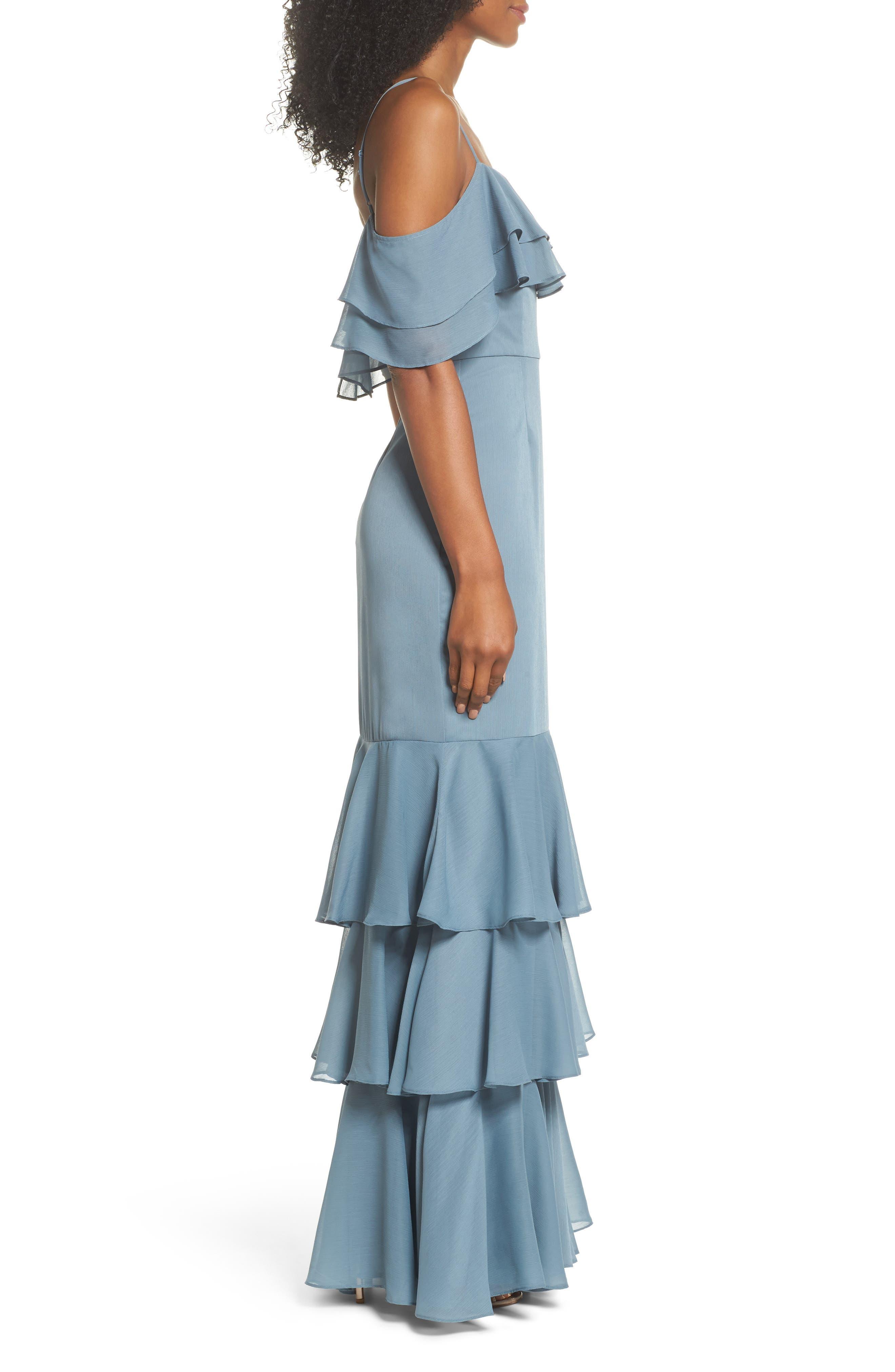 Lauren Cold Shoulder Tiered Gown,                             Alternate thumbnail 7, color,