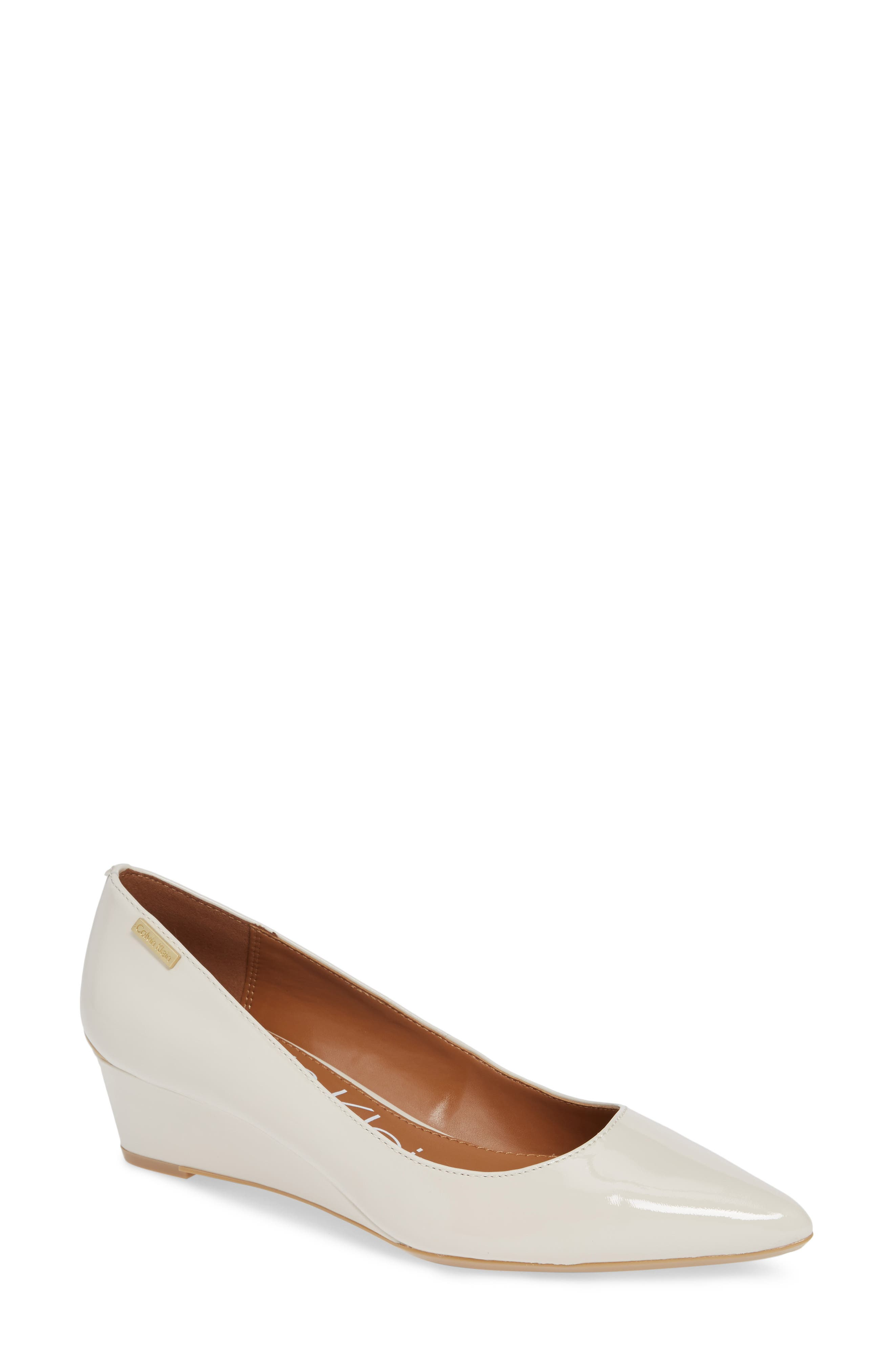 'Germina' Pointy Toe Wedge,                             Main thumbnail 1, color,                             SOFT WHITE PATENT