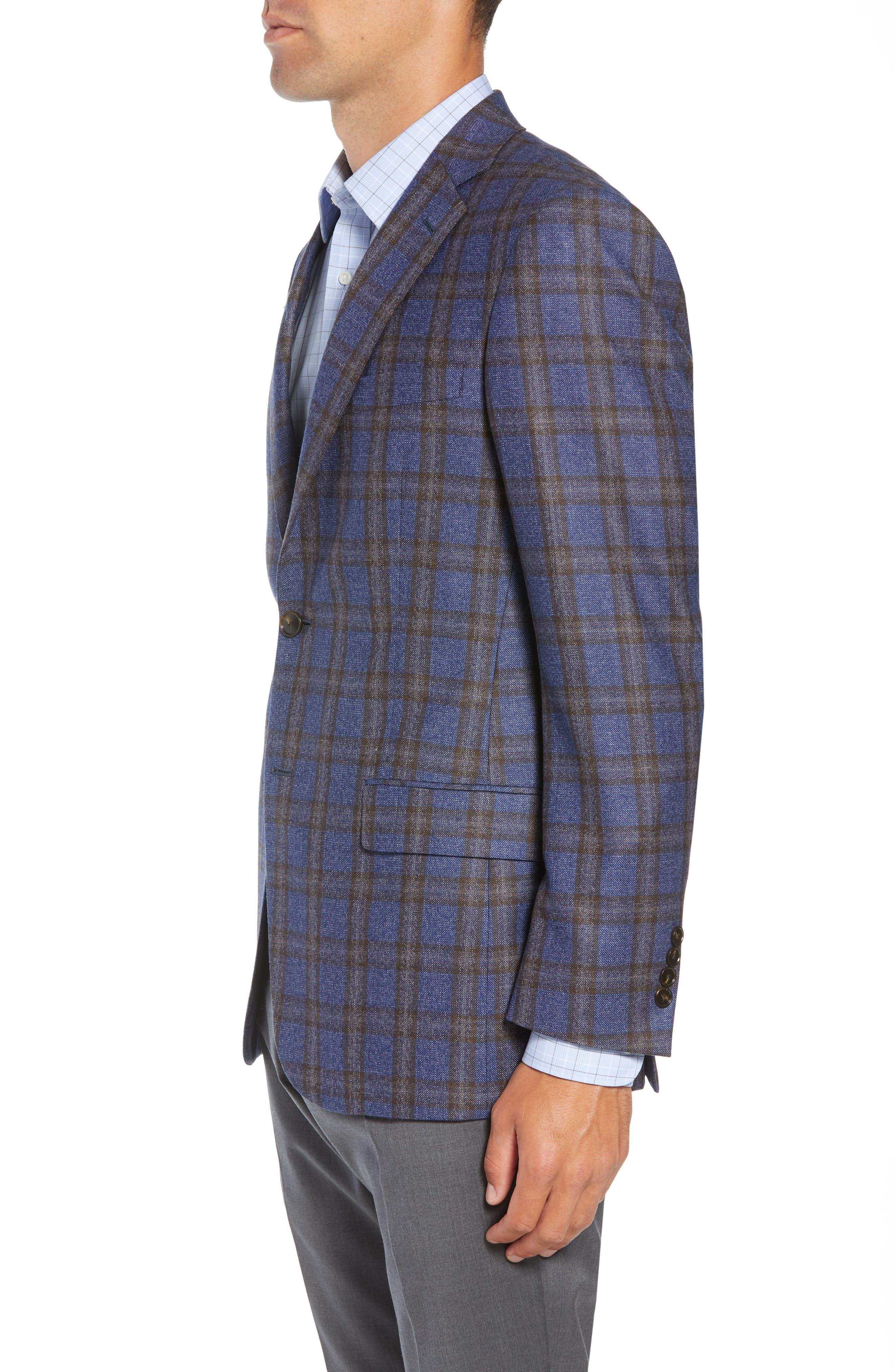 Classic Fit Plaid Wool Sport Coat,                             Alternate thumbnail 3, color,                             420